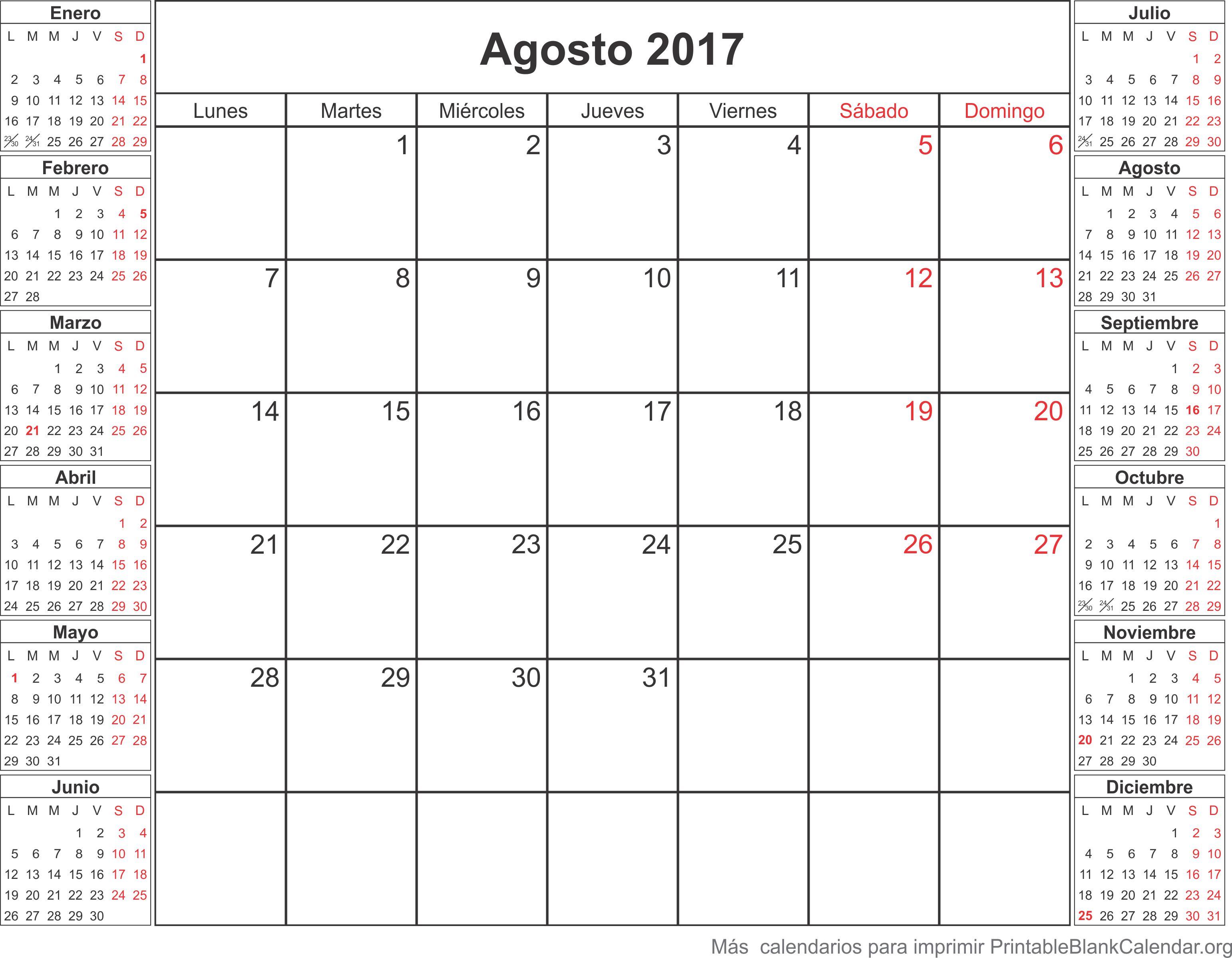calendario ago 2017 para imprimir