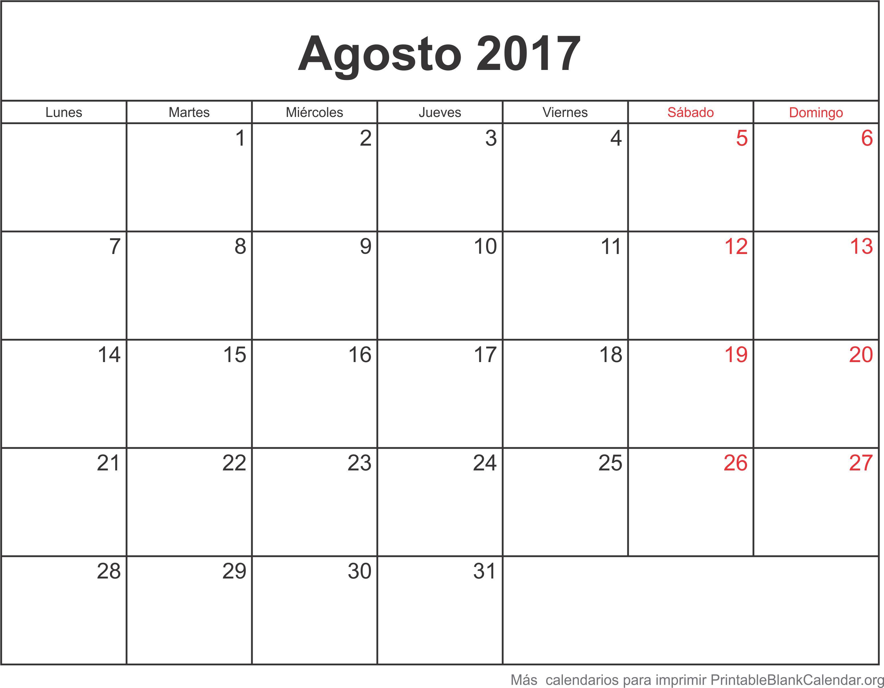 calendario para imprimir agosto 2017