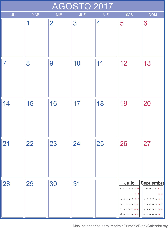 imprimir calendario agosto 2017