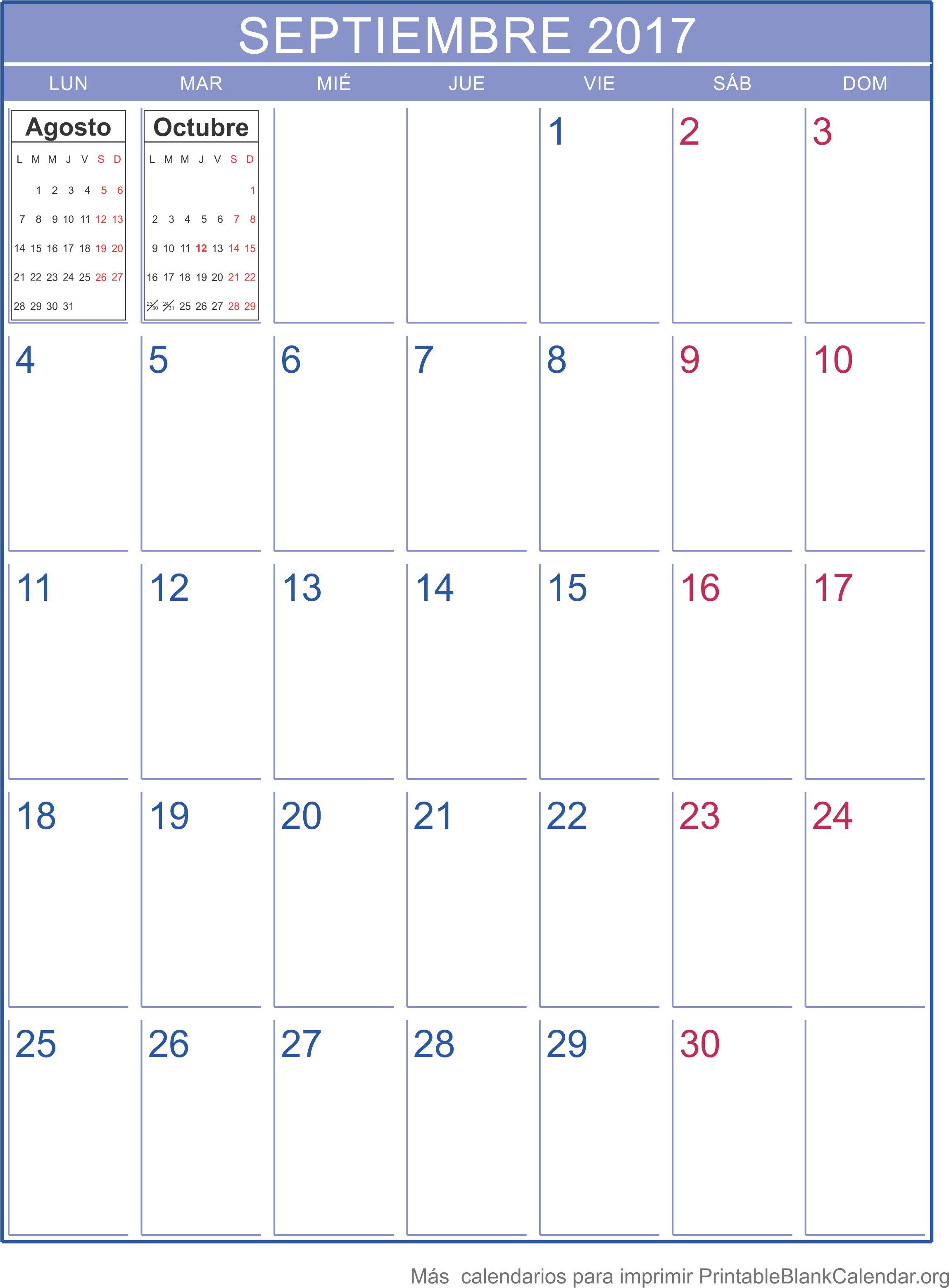 septiembre 2017 calendario