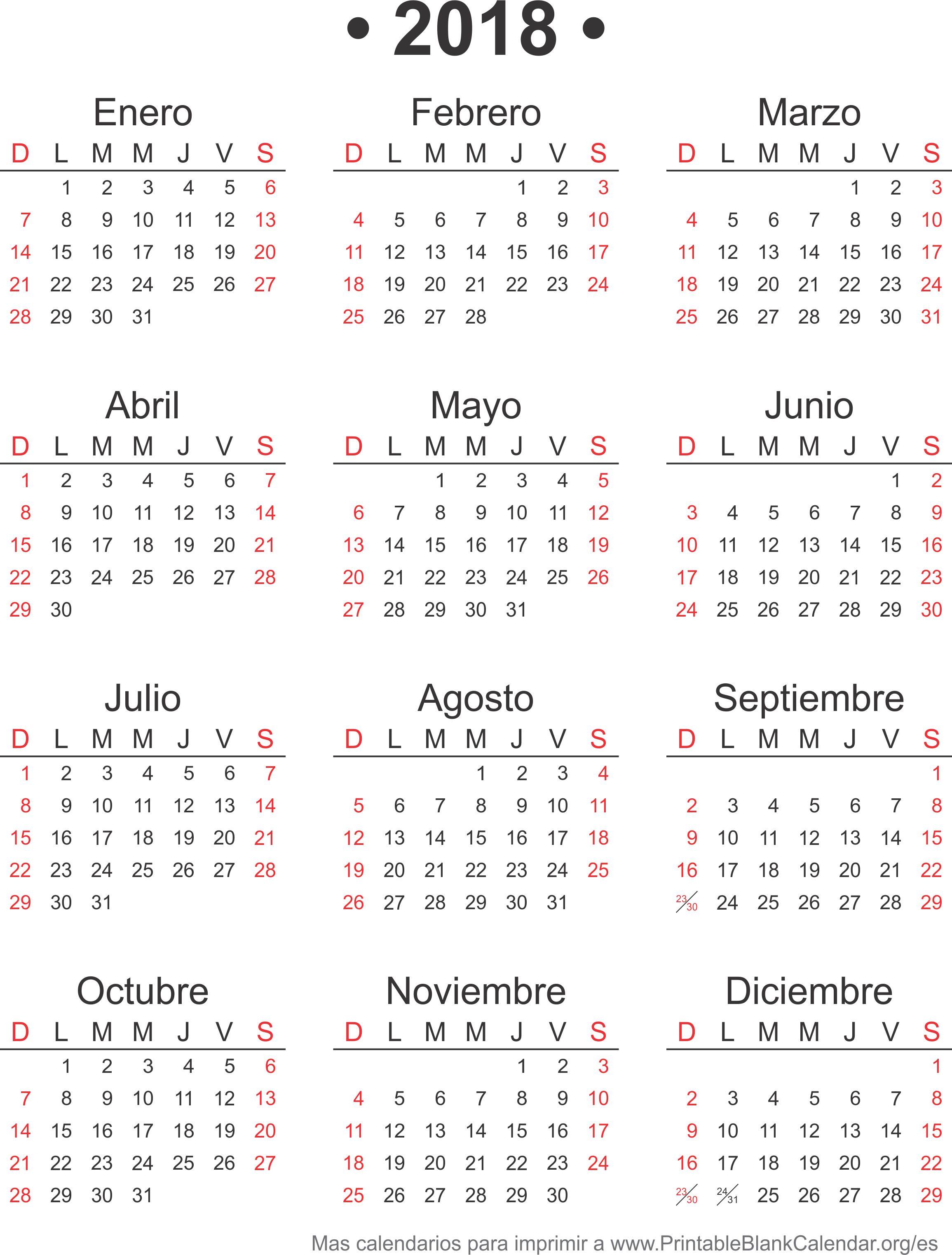 2018 calendario para imprimir