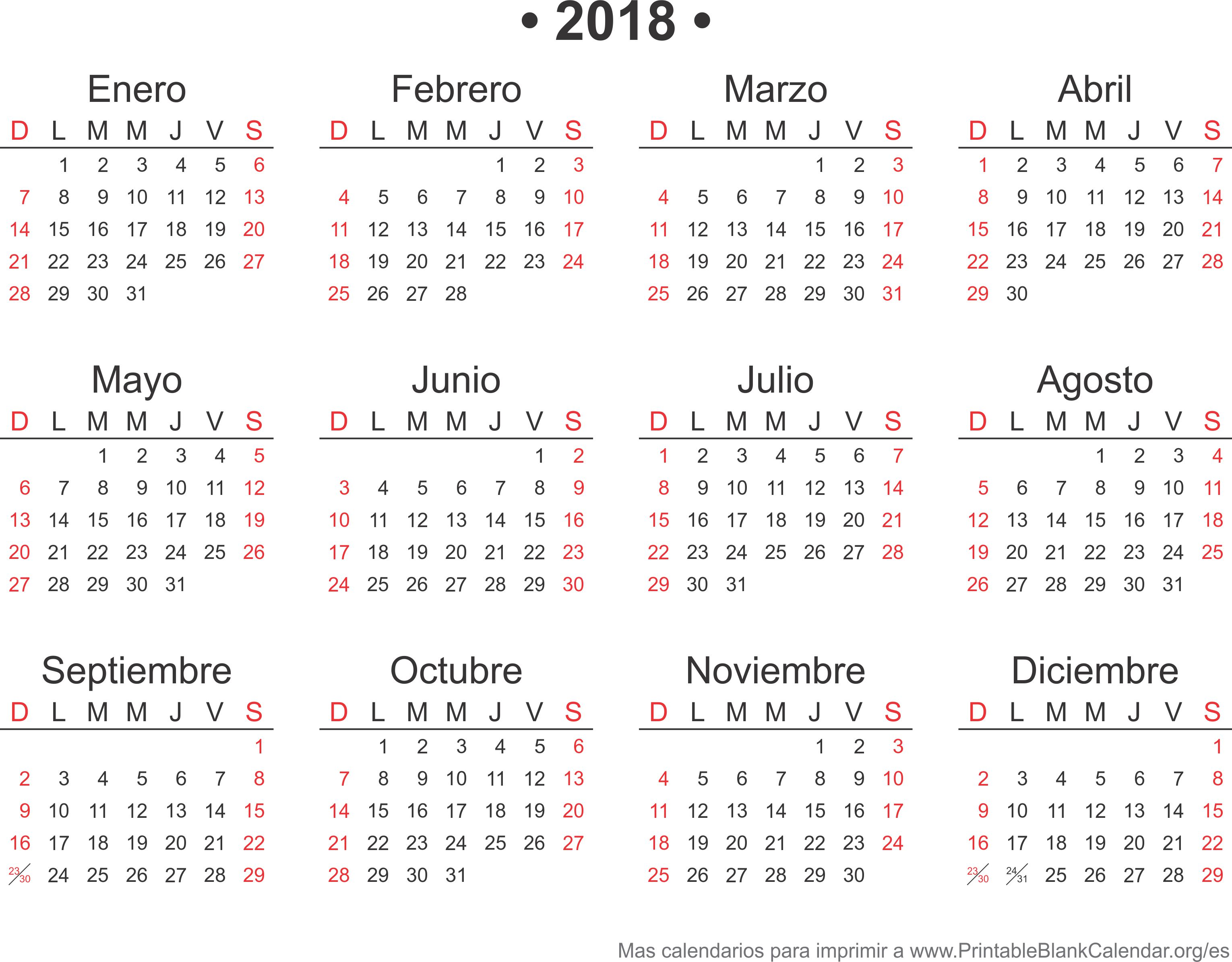 2018 calendarios anuales para imprimir calendarios para for Calendario junio 2016 para imprimir