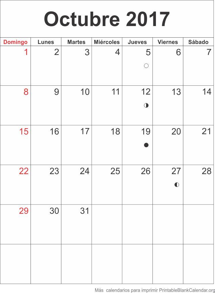 Octubre 2017 Calendario para Imprimir - Calendarios Para ...
