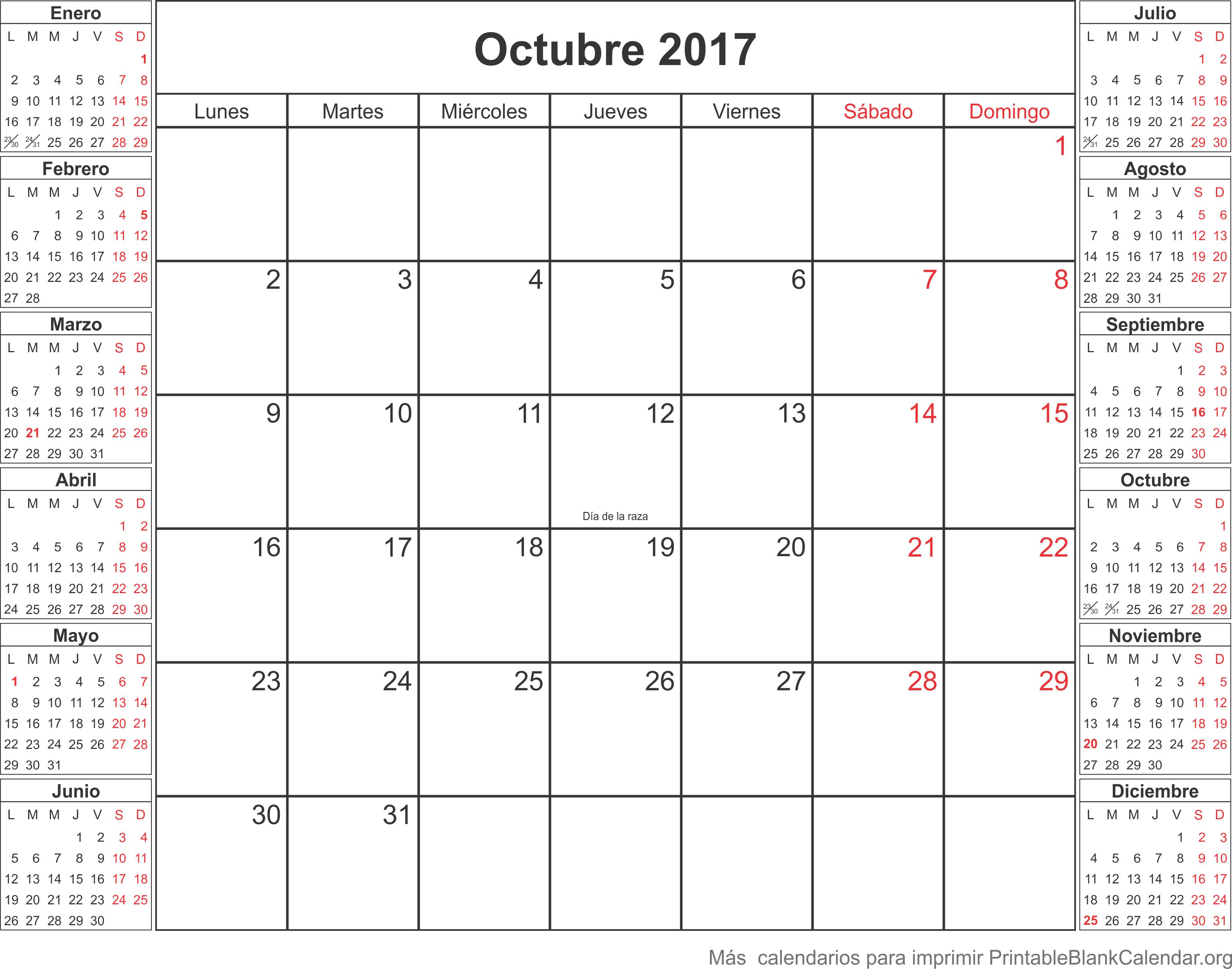 imprimir calendario octubre 2017