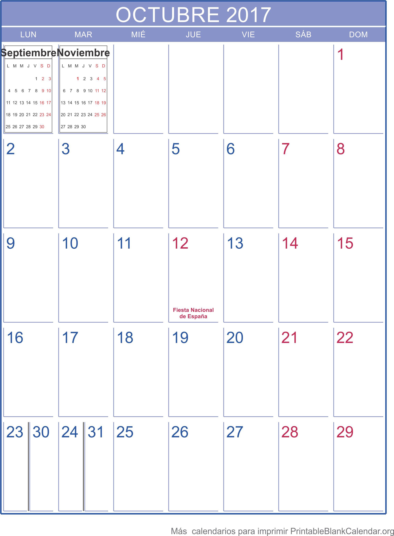 octubre 2017 calendario