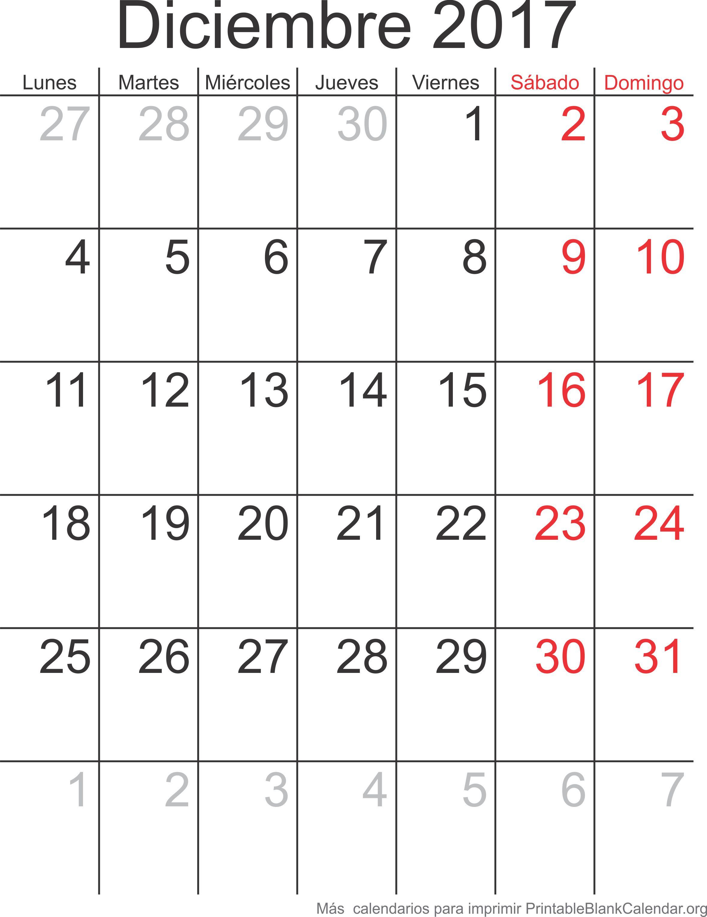 dec 2017 calendario