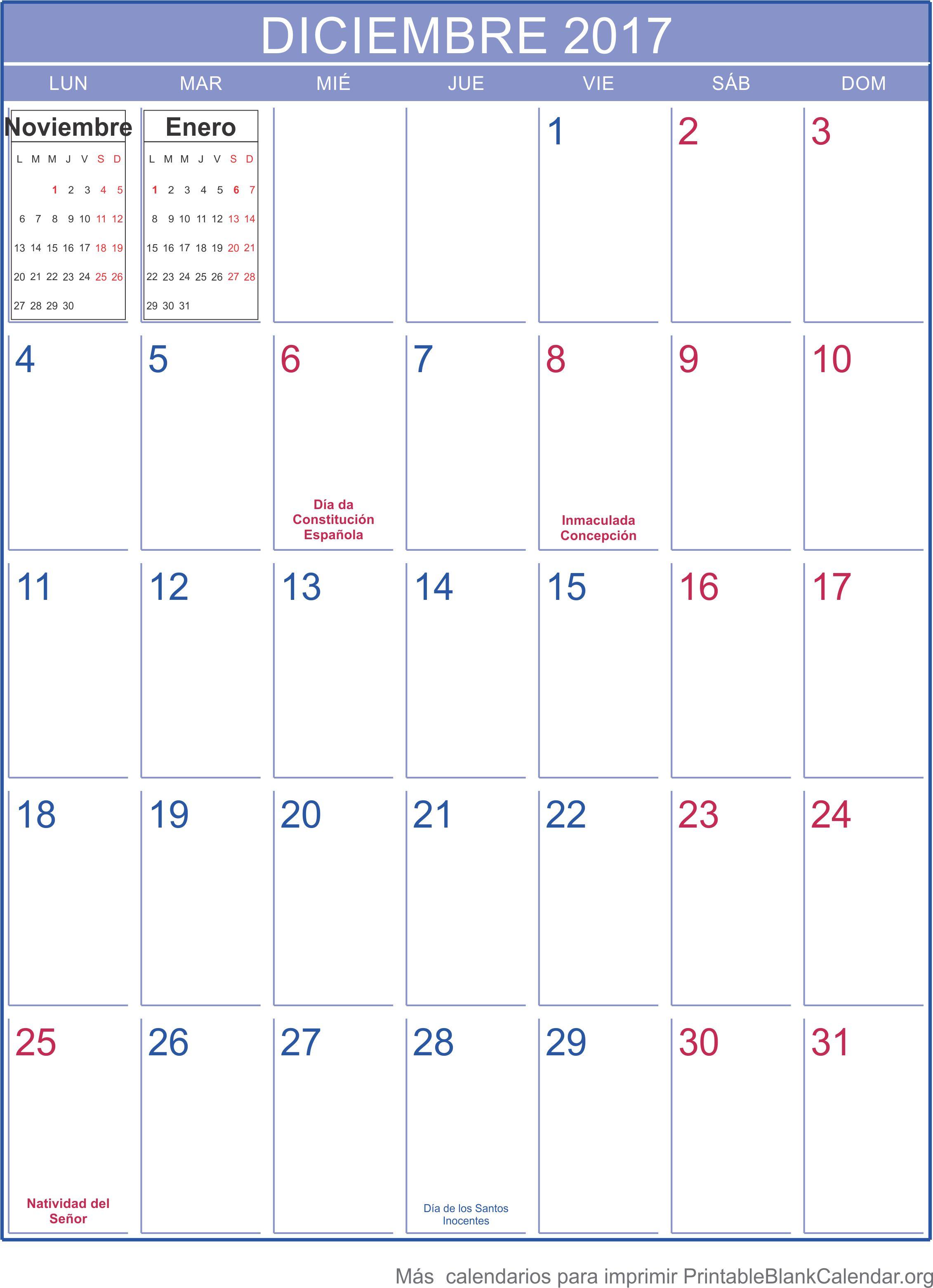 imprimir calendario deciembre 2017