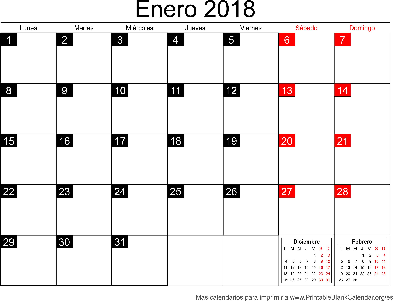 calendario ener 2018 para imprimir