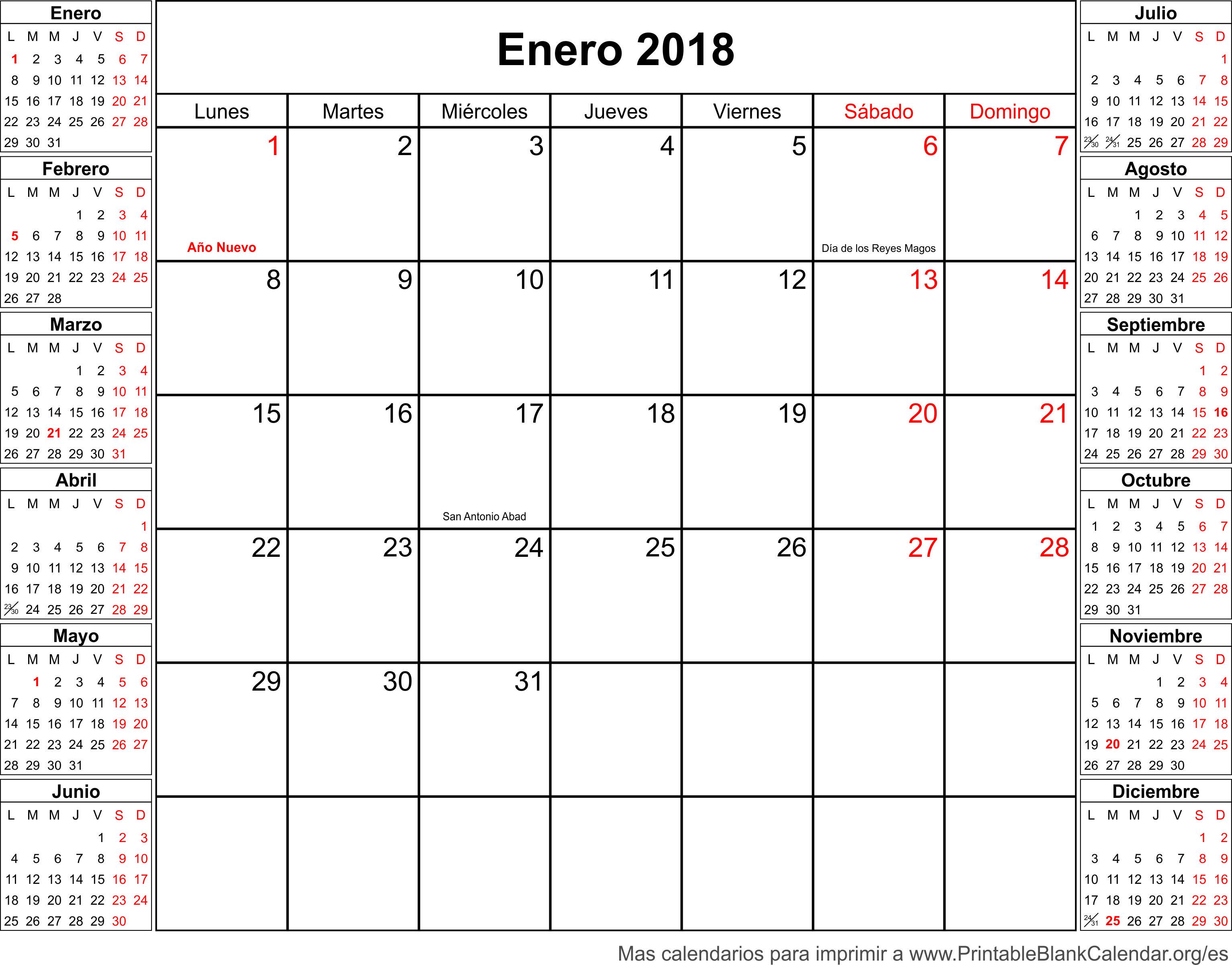 calendario para imprimir enero 2018