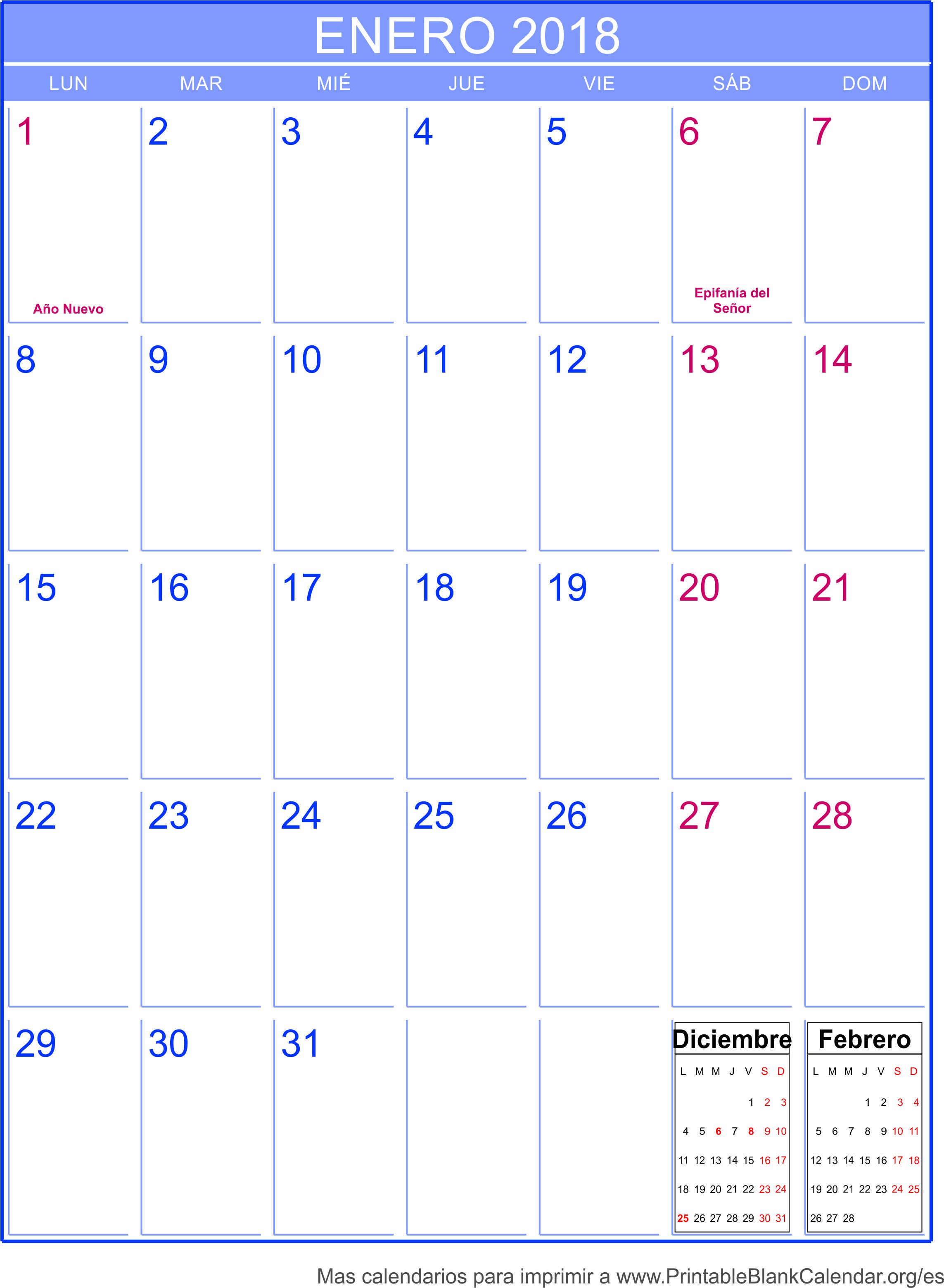 imprimir calendario enero 2018