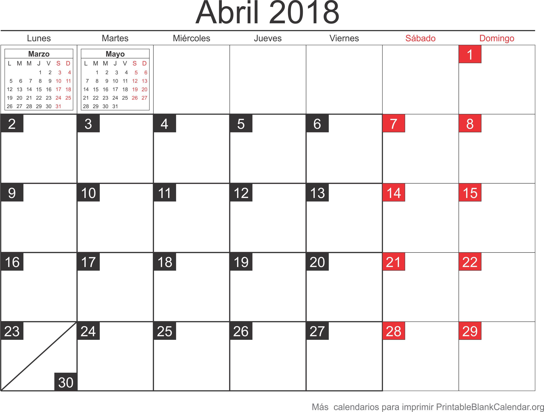 abril 2018 calendario