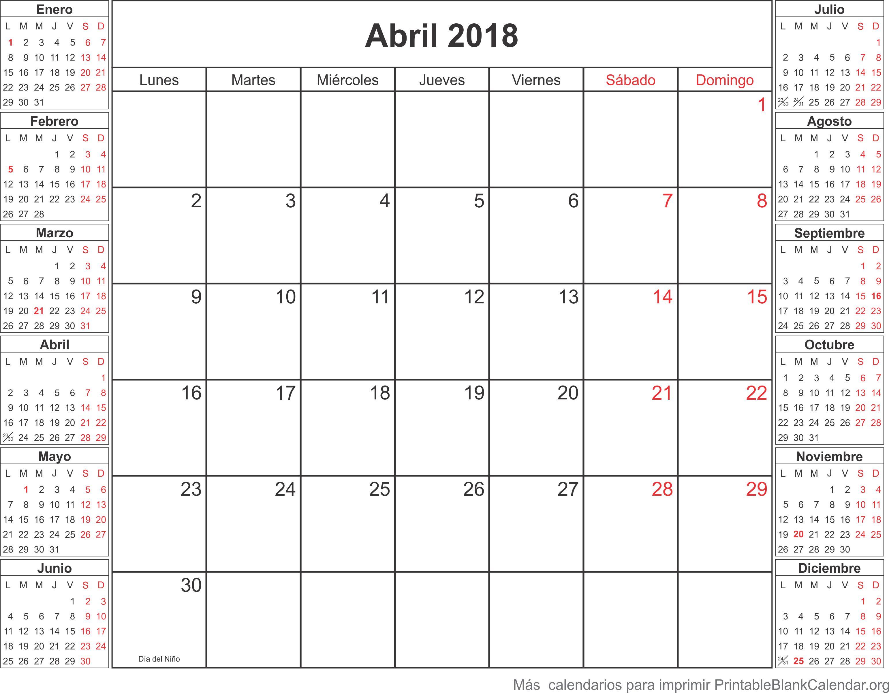 calendario abril 2018
