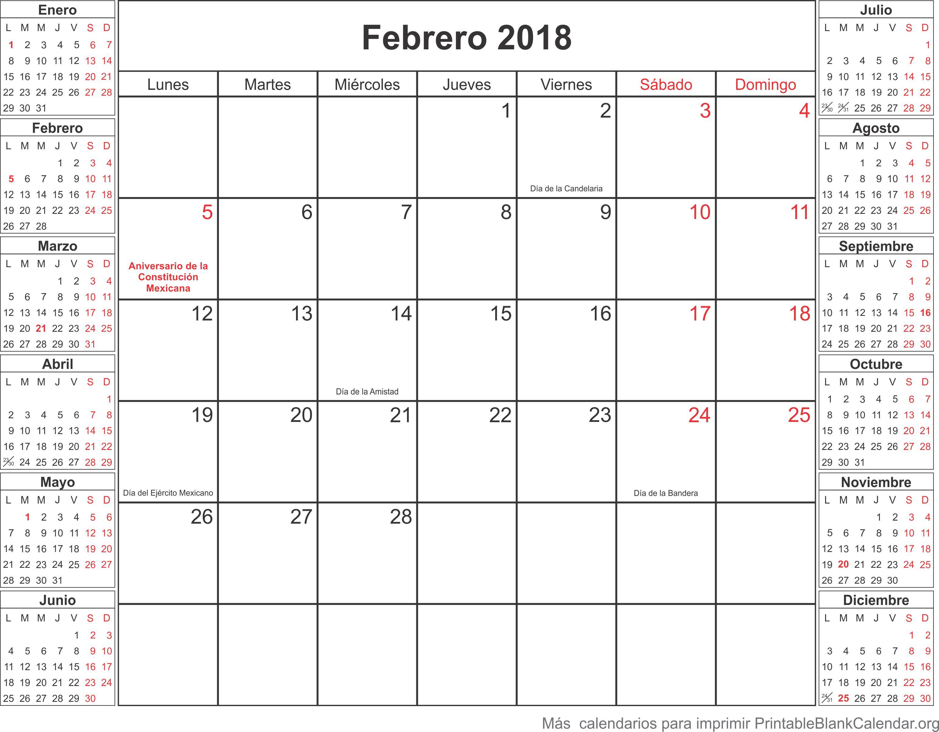calendario para imprimir febrero 2018