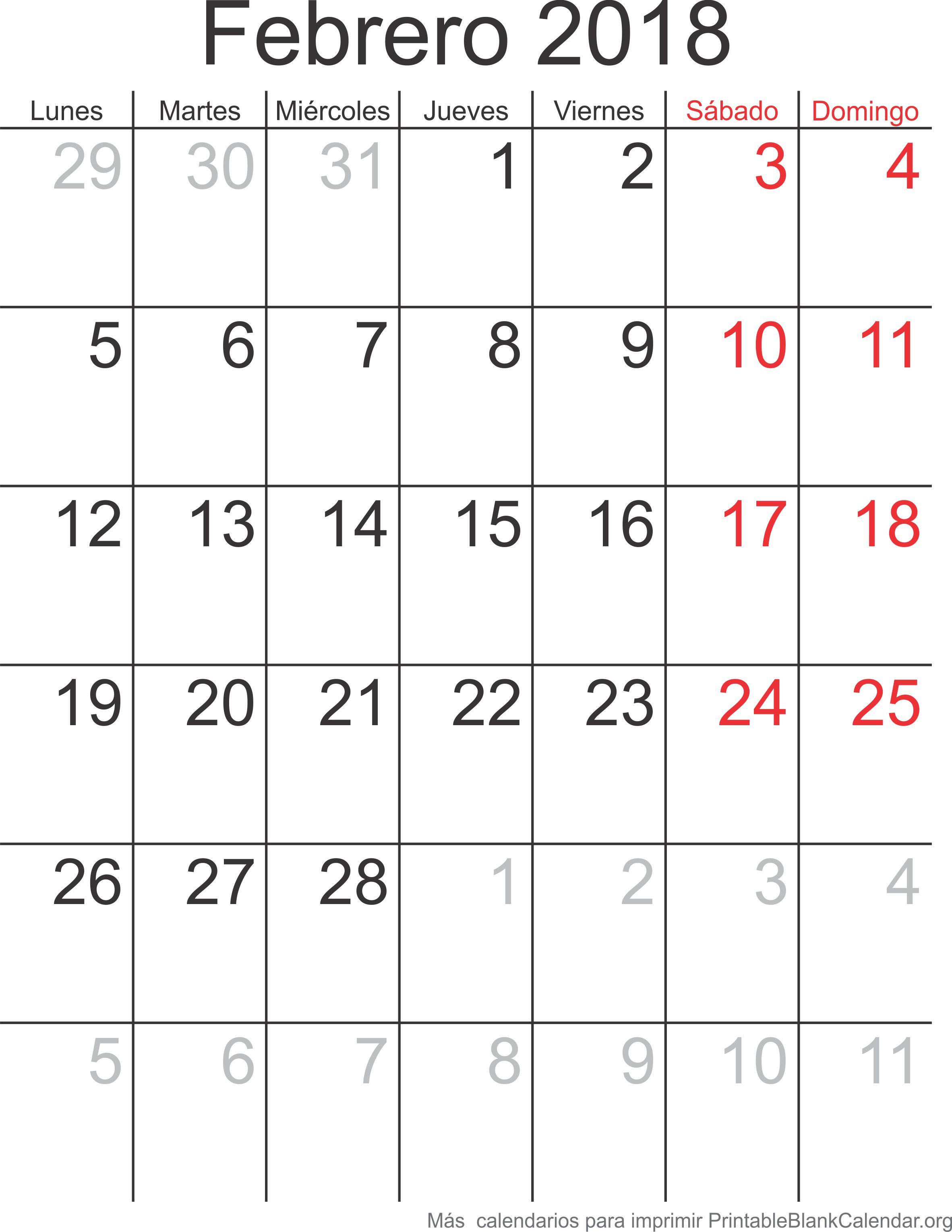 feb 2018 calendario