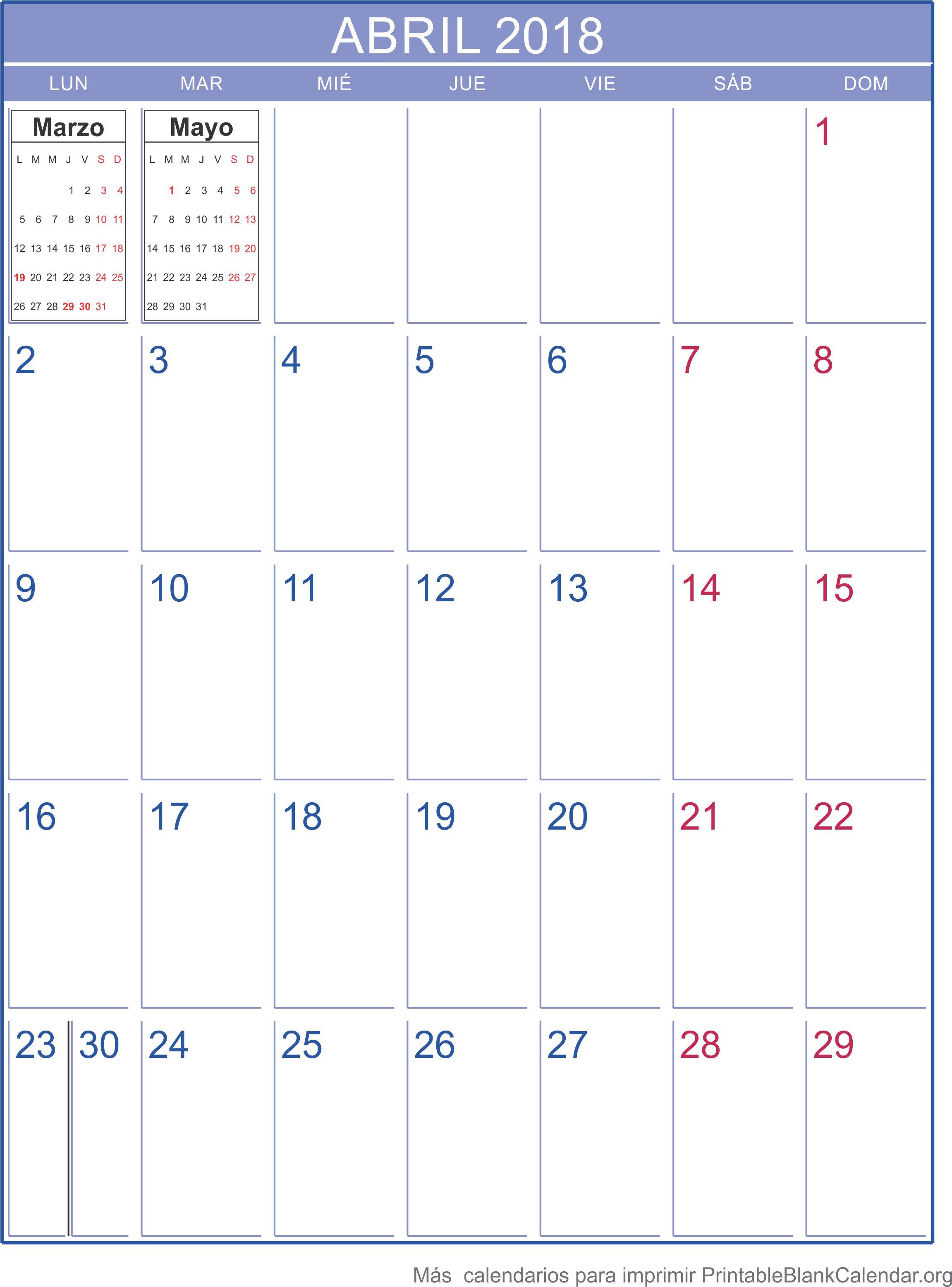 imprimir calendario abril 2018