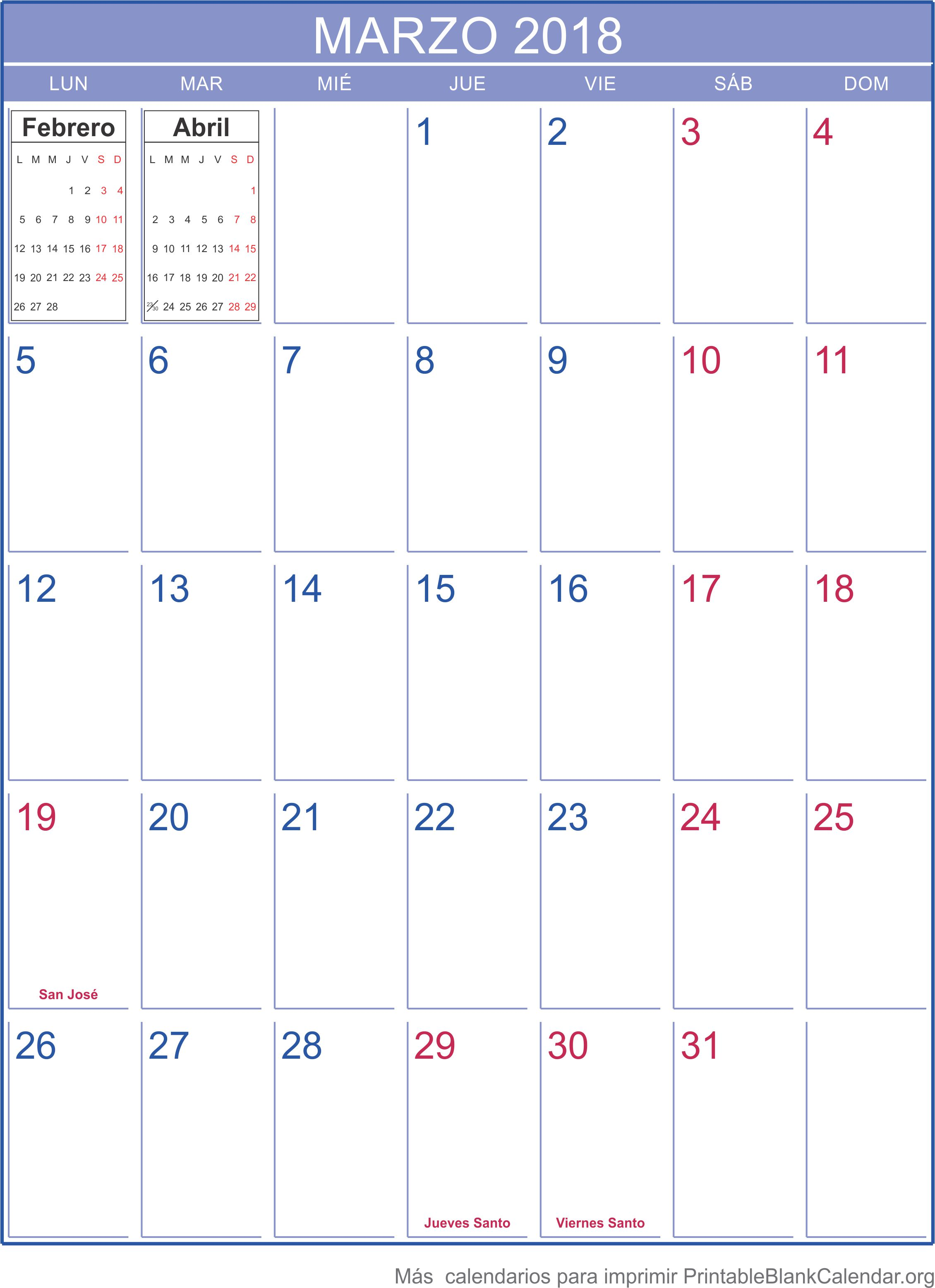 marzo 2018 calendario