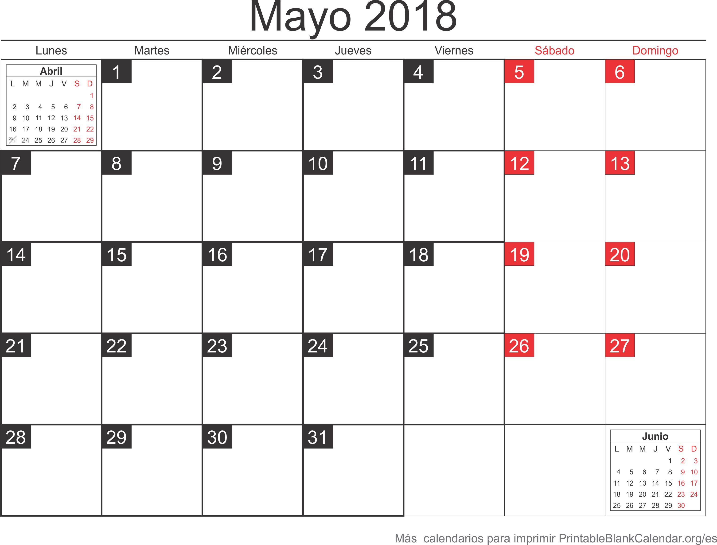 calendario may 2018 para imprimir