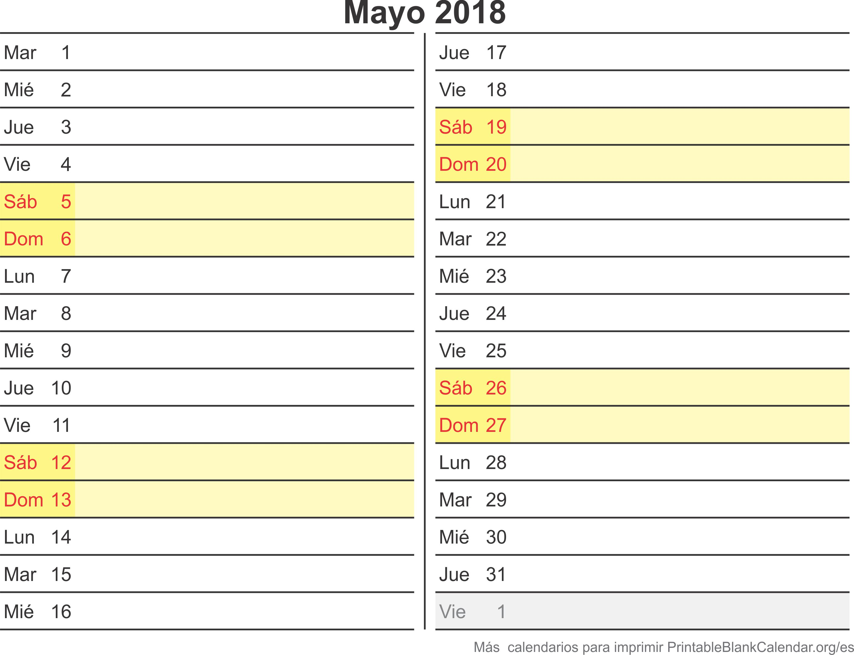 calendario para imprimir may 2018
