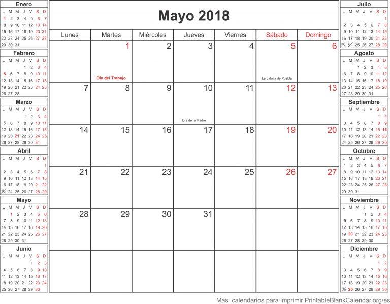Calendario Para Imprimir Mayo 2018 Calendarios Para Imprimir
