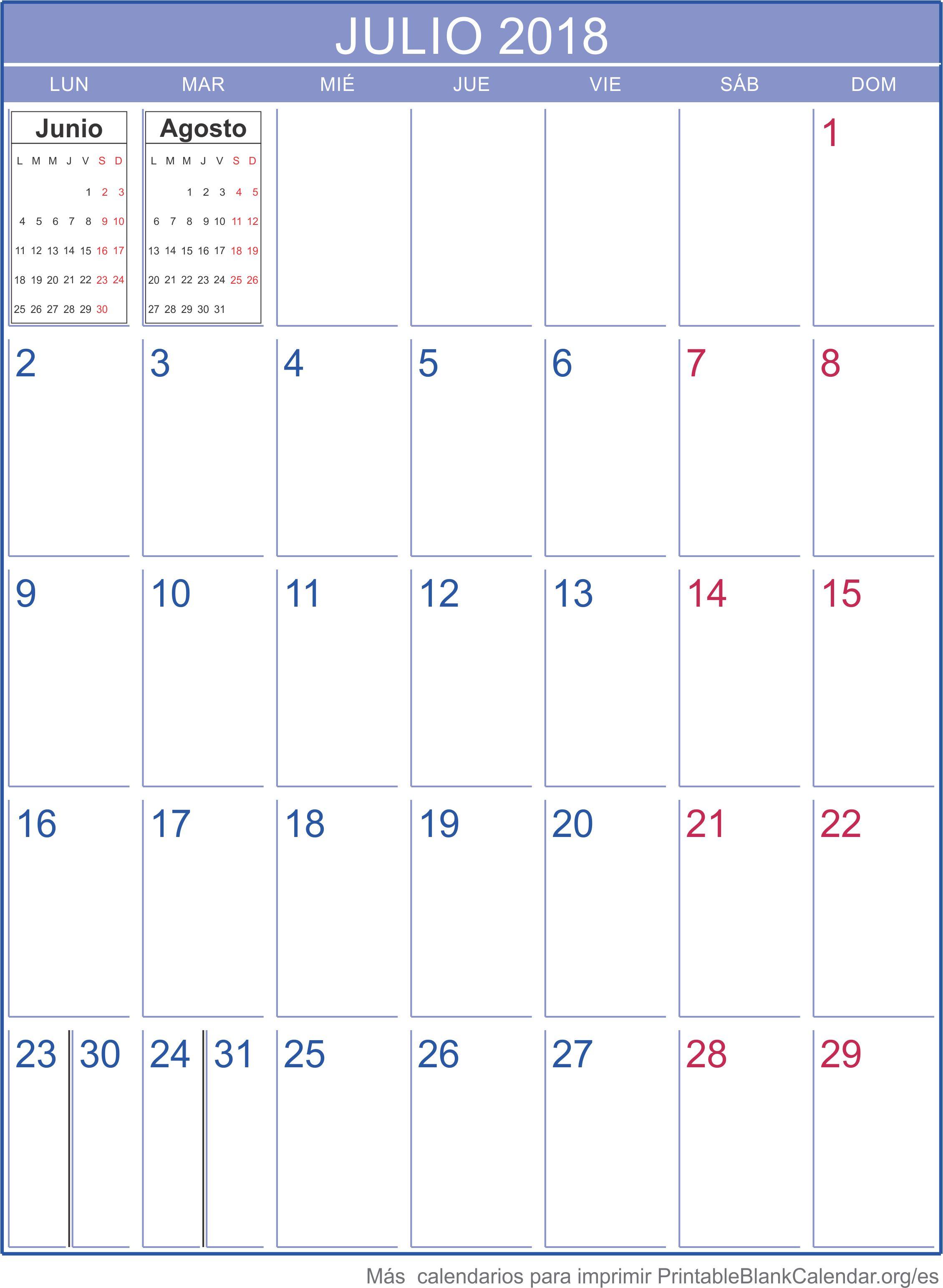 julio 2018 calendario