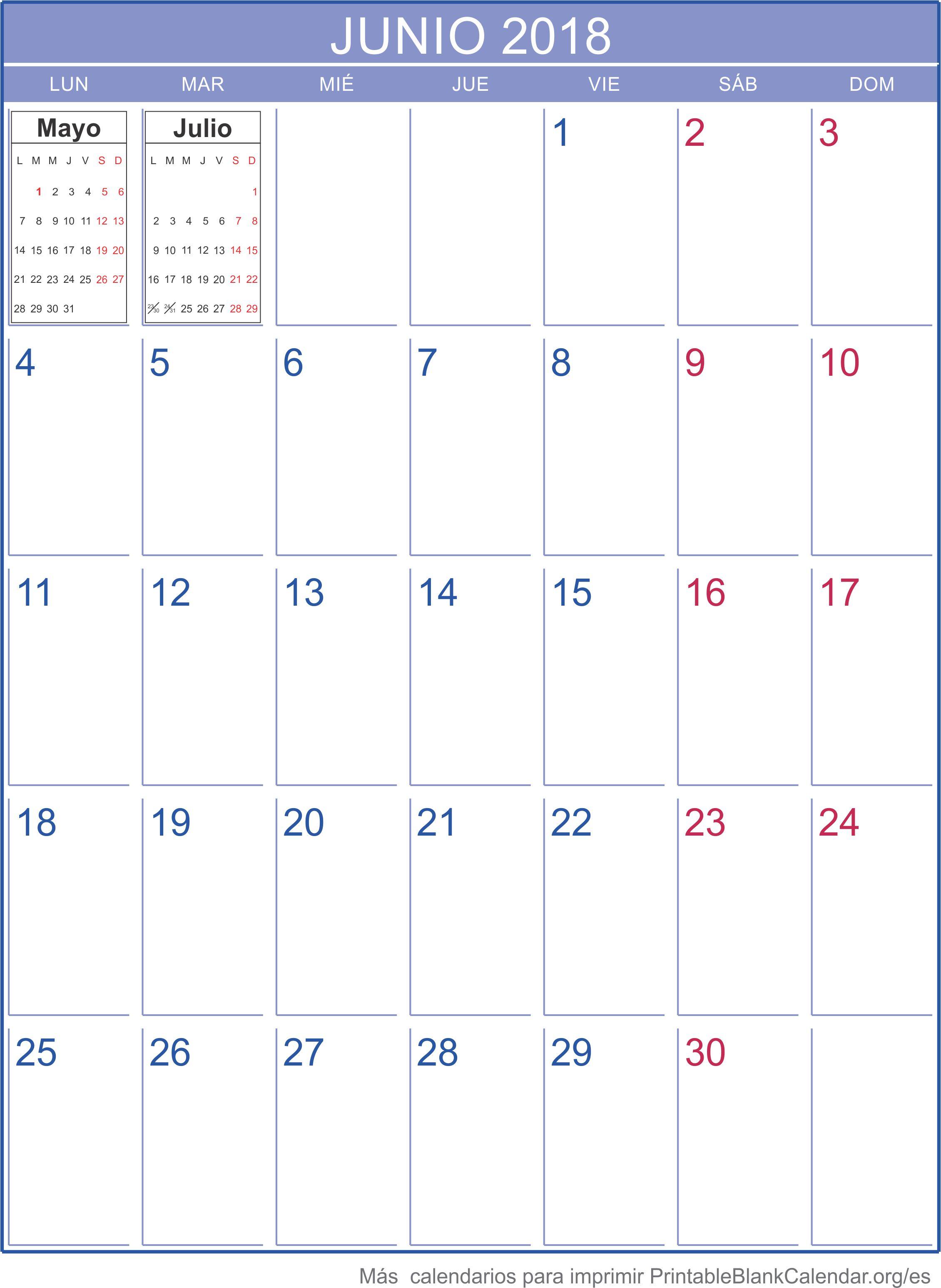junio 2018 calendario