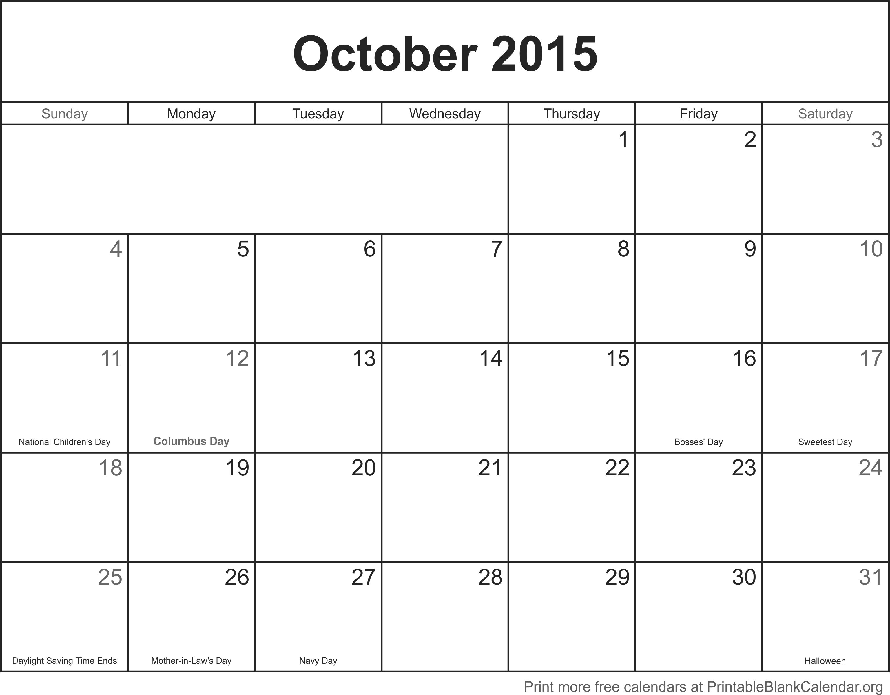 October Calendar 2015 : October printable calendar template blank