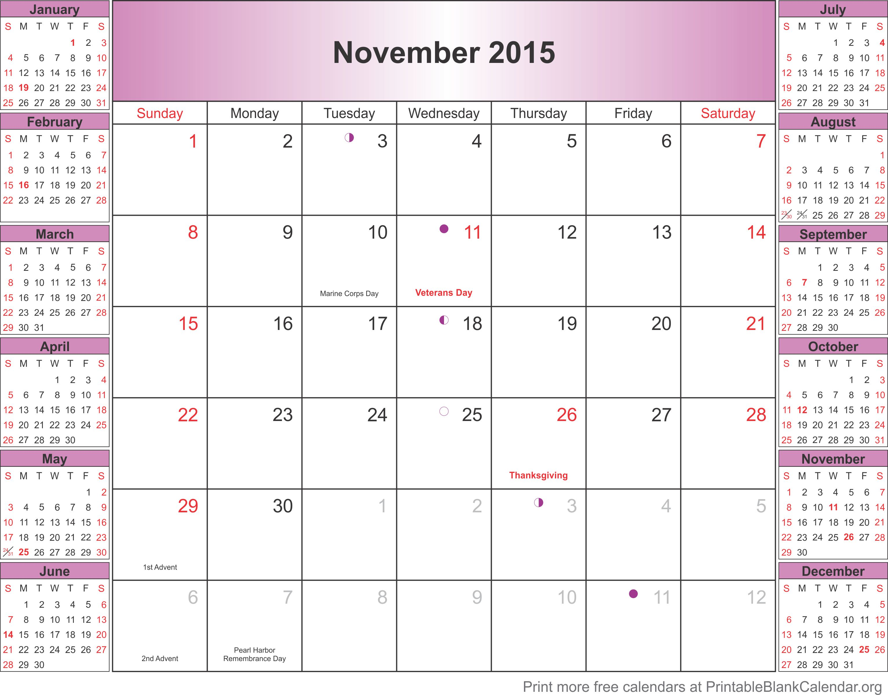November 2015 calendar with holidays - Printable Blank Calendar.org