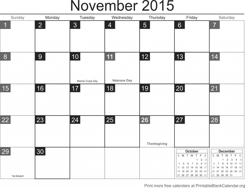 Blank Calendar November : November printable calendar blank