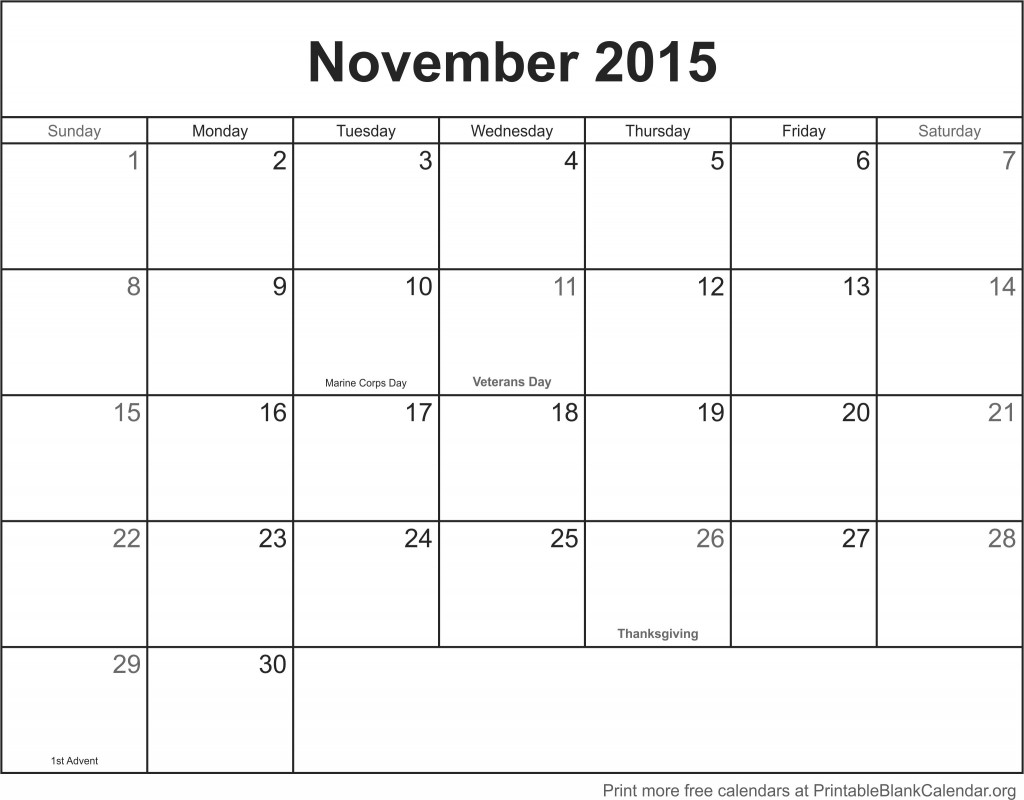"""November Calendar 2015 With Holidays : Search results for """"printable yearly calendar with"""