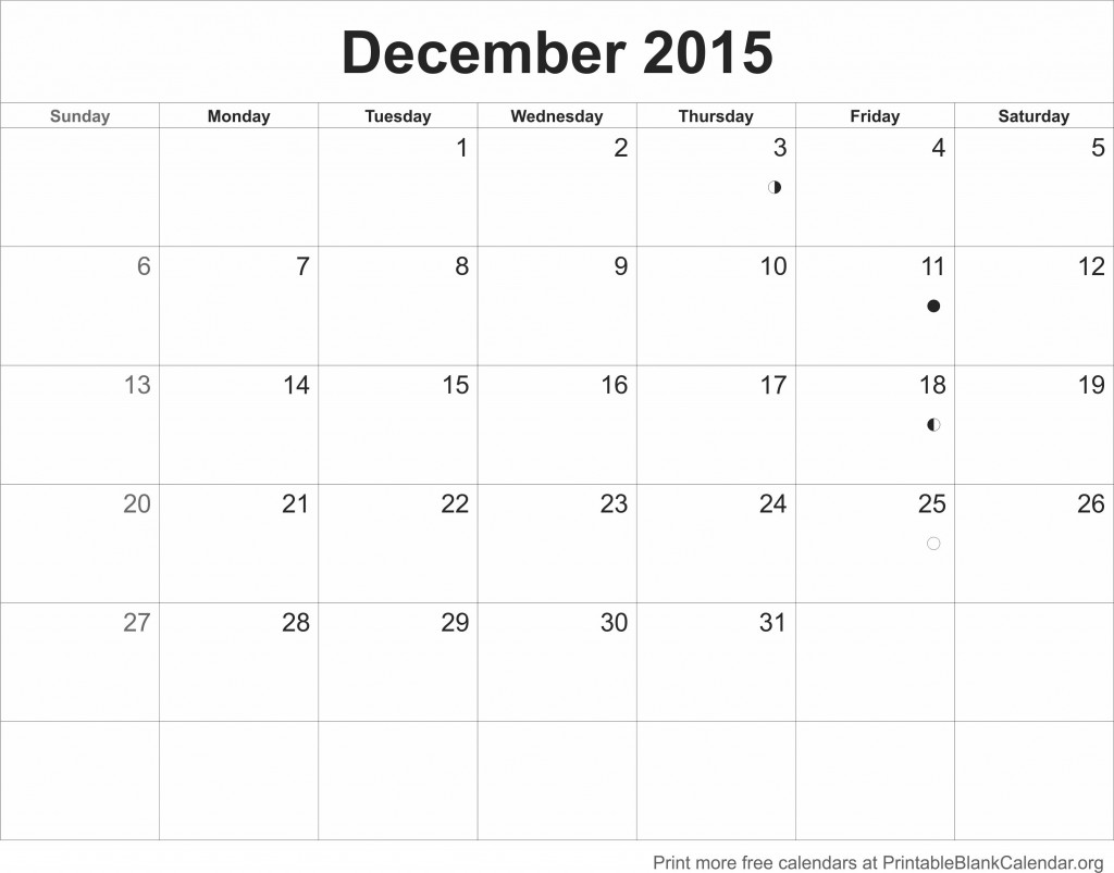 free printable blank calendars 2015