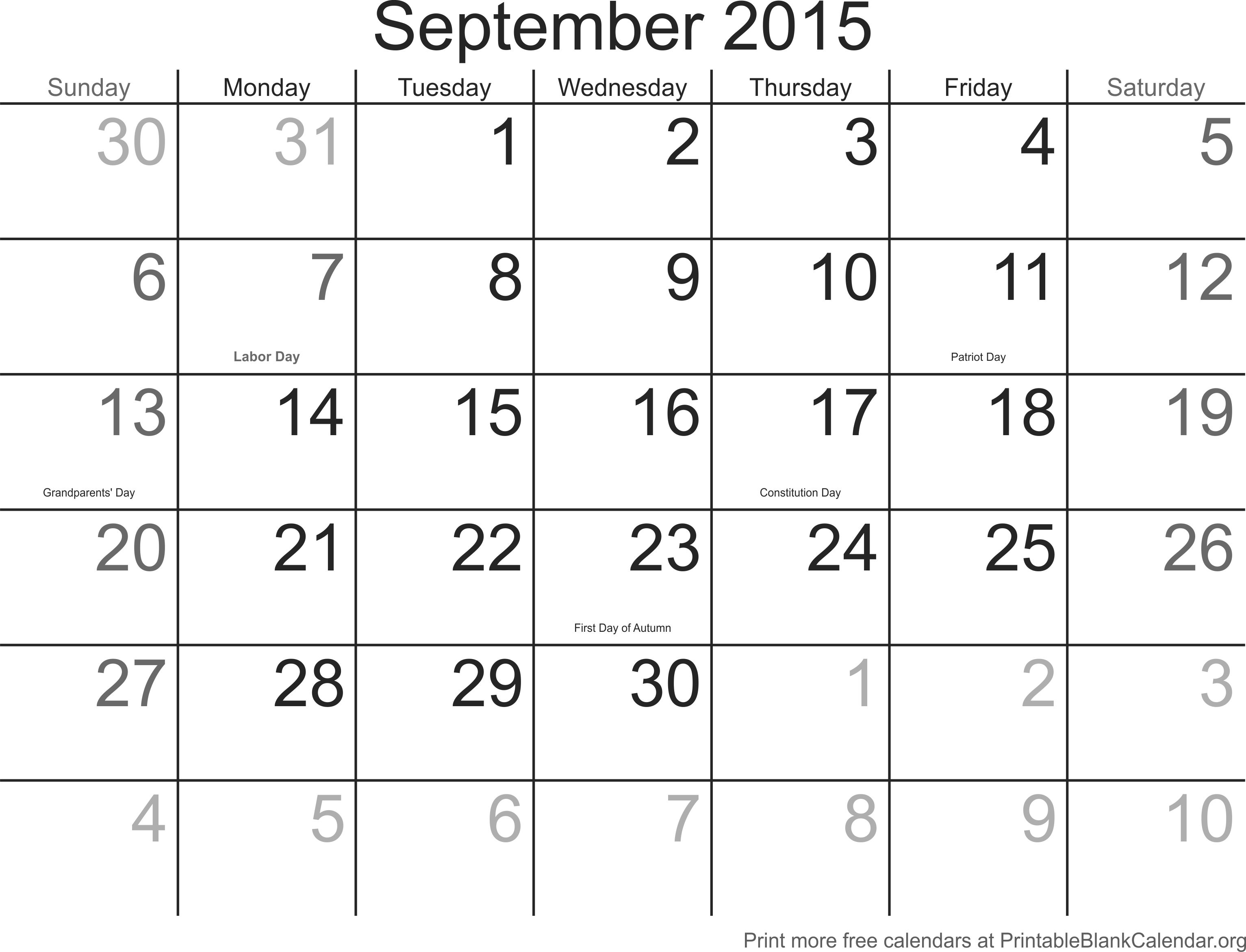 "September Calendar With Holidays : Search results for "" month calendar template"