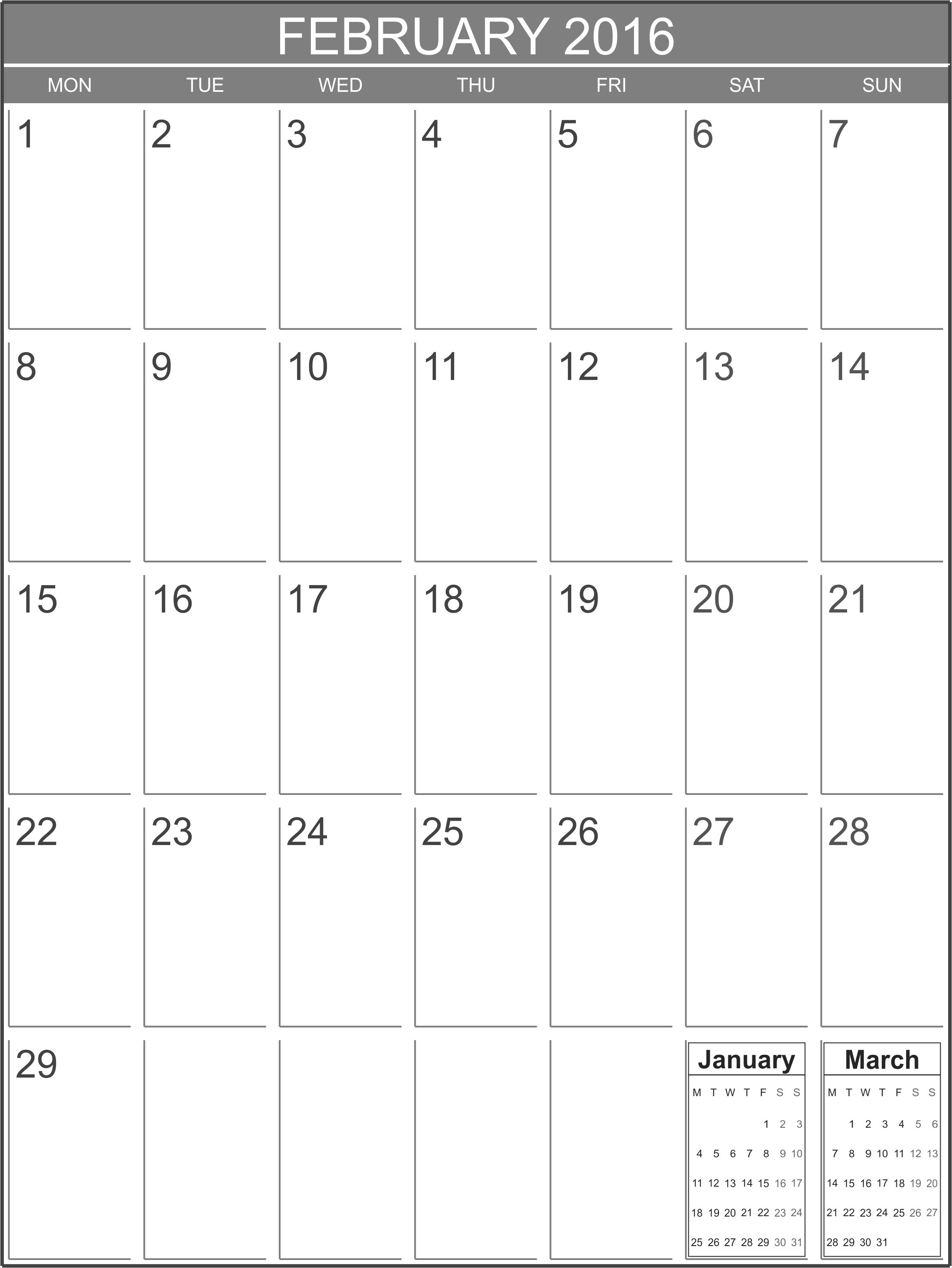 February 2016 blank calendar template - Printable Blank Calendar.org