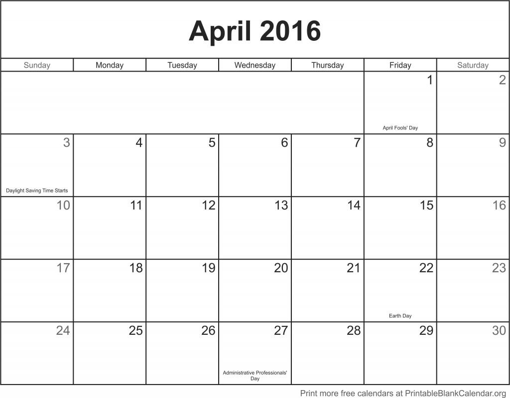 April 2016 Printable Calendar - Printable Blank Calendar.org