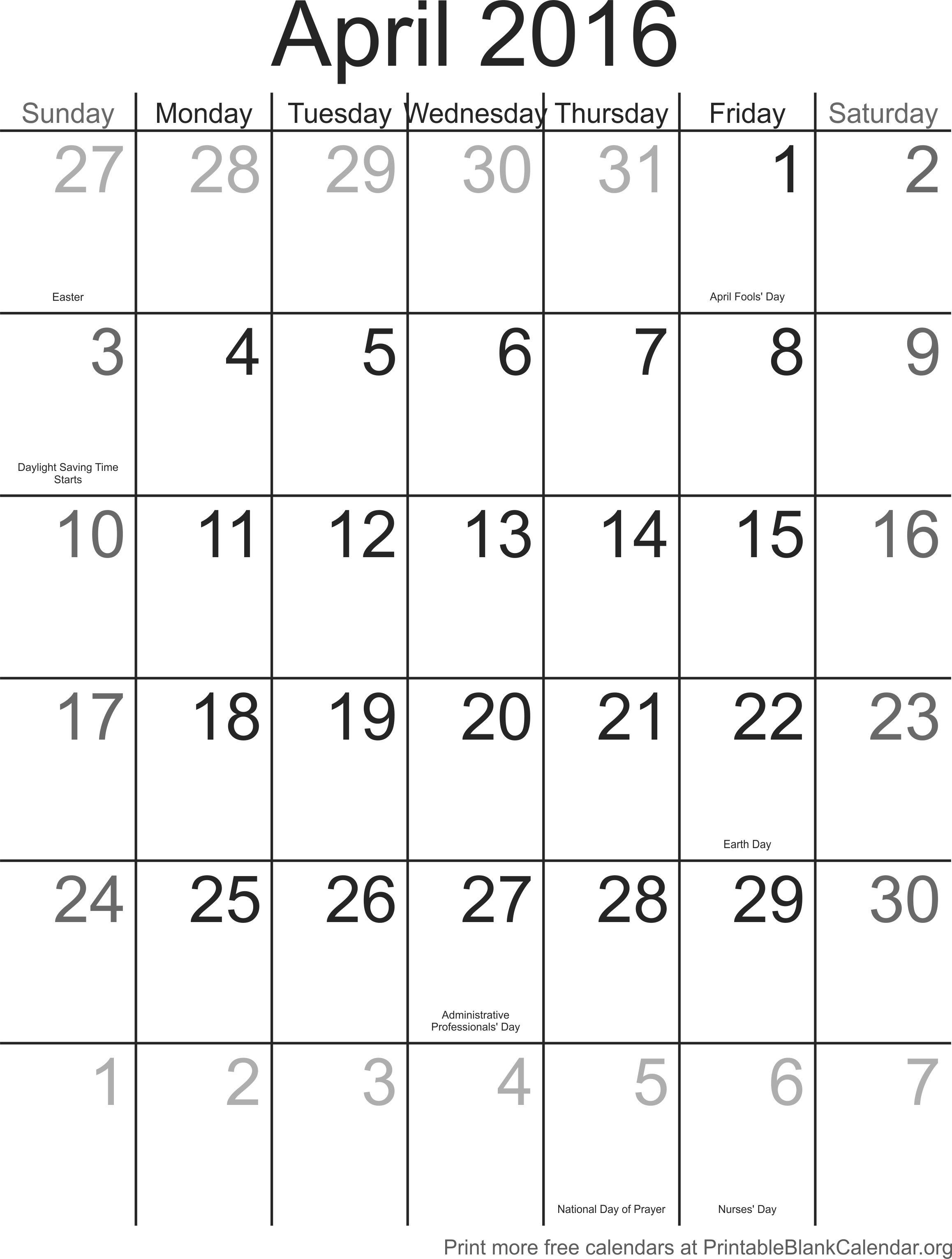 April Calendar Numbers For Preschool : Printable calendar numbers for april free
