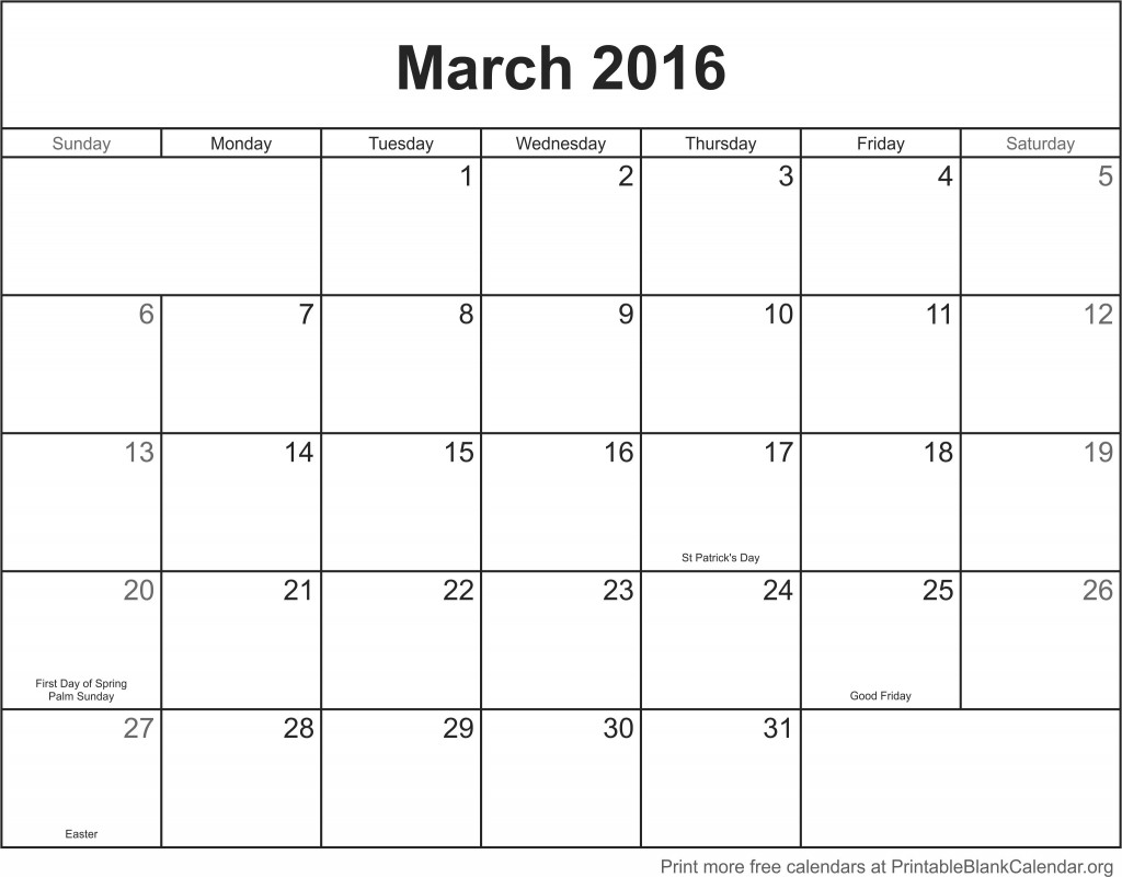 Blank Calendar Of March : March printable calendar blank