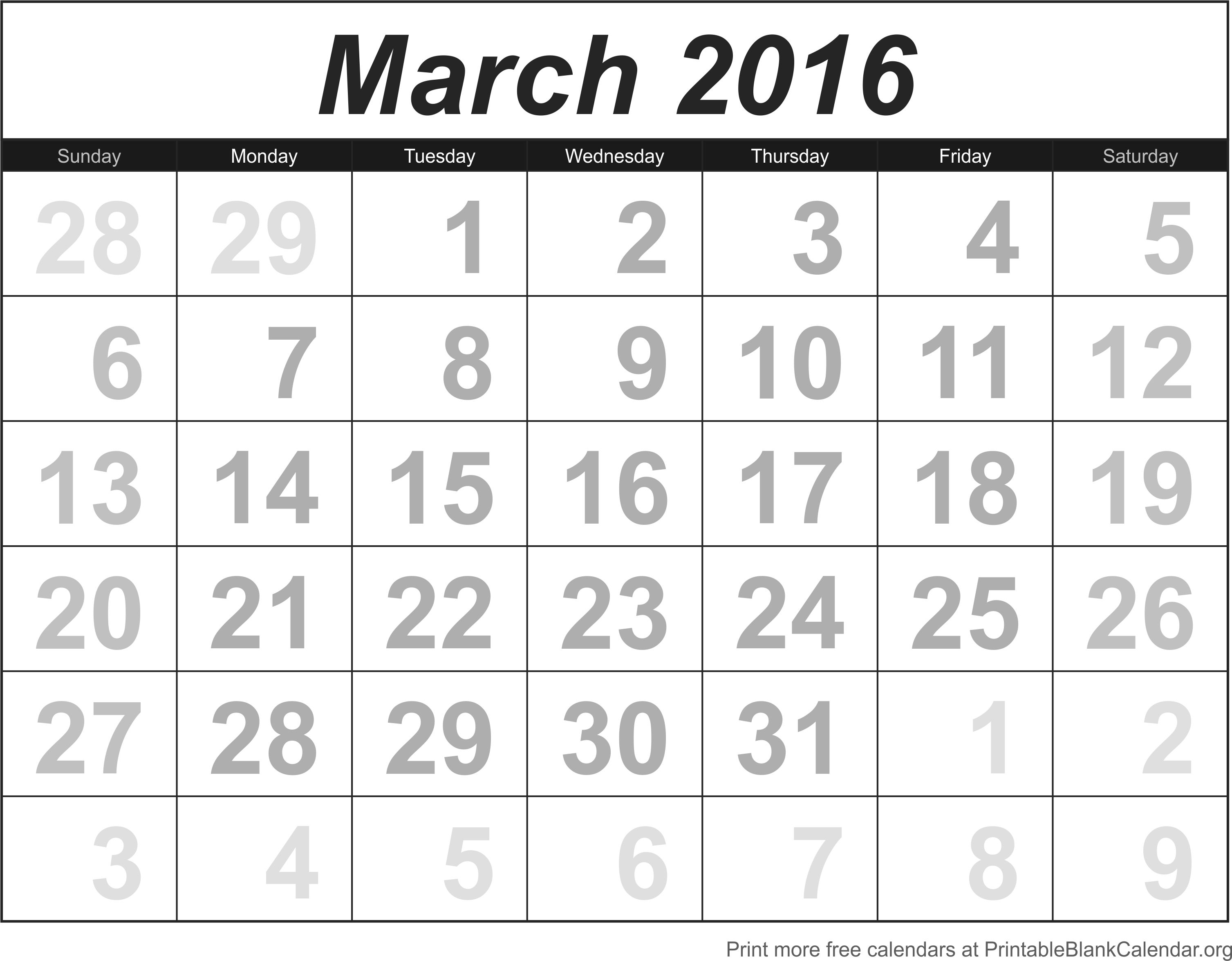 Blank Calendar With Numbers : Free printable calendar numbers for march images
