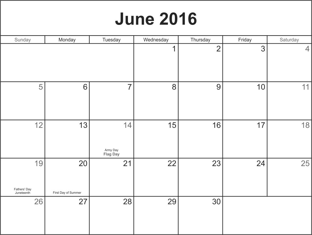 Blank Calendar Of June : June printable calendar blank