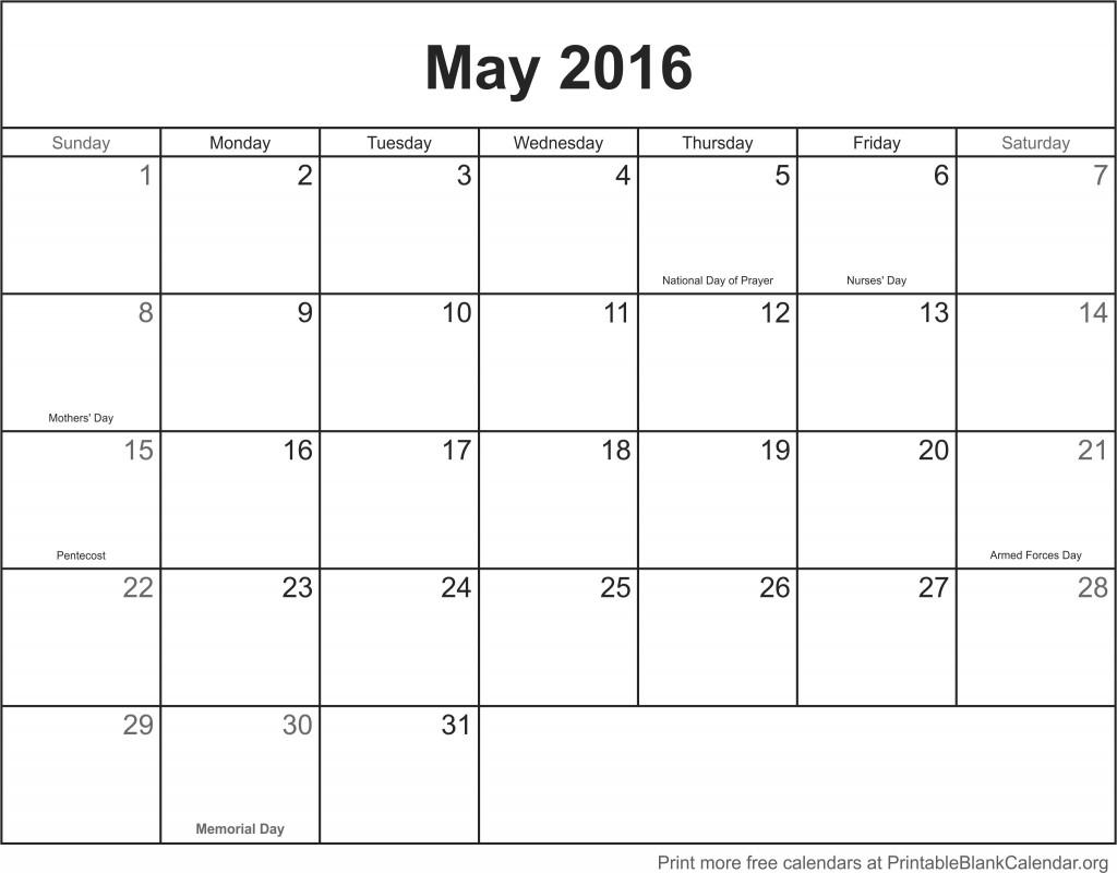 Blank Calendar Template May : May printable calendar blank