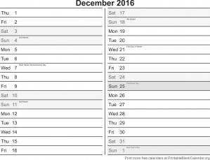 December2016 calendar with holidays
