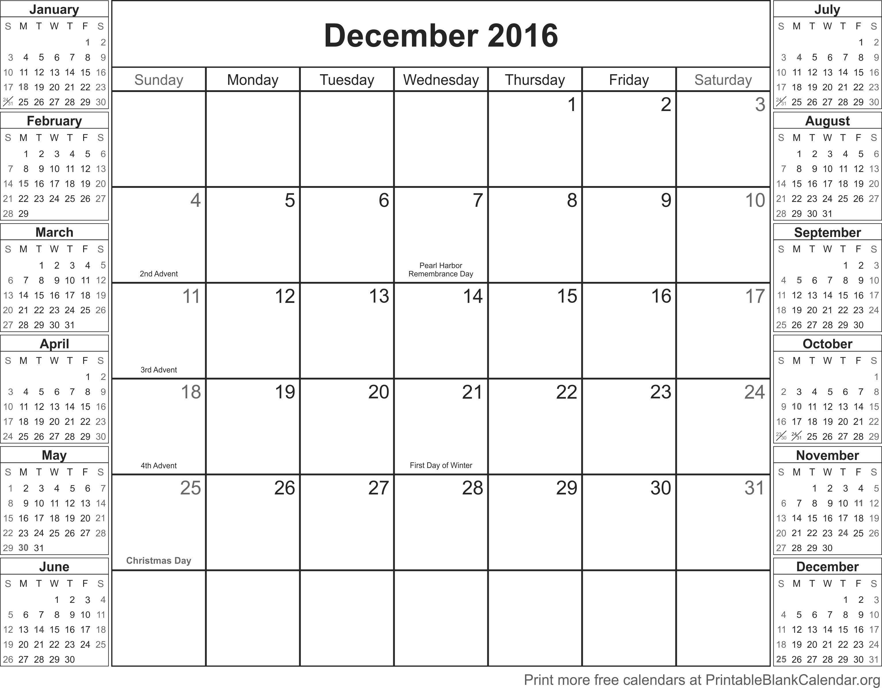 December 2016 free printable calendar - Printable Blank Calendar.org