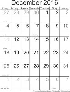 December 2016 montlhy calendar