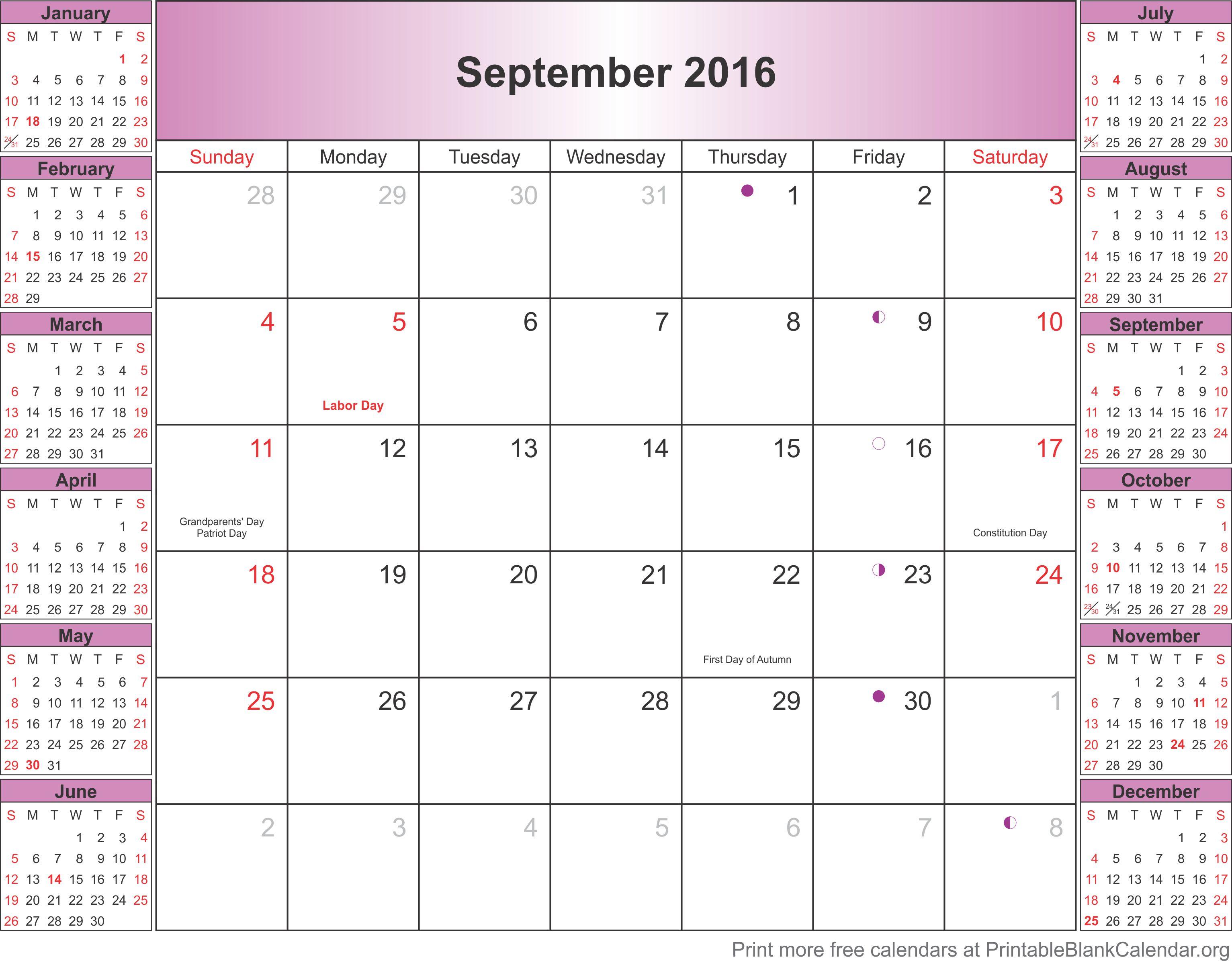 September 2016 blank calendar template - Printable Blank Calendar.org
