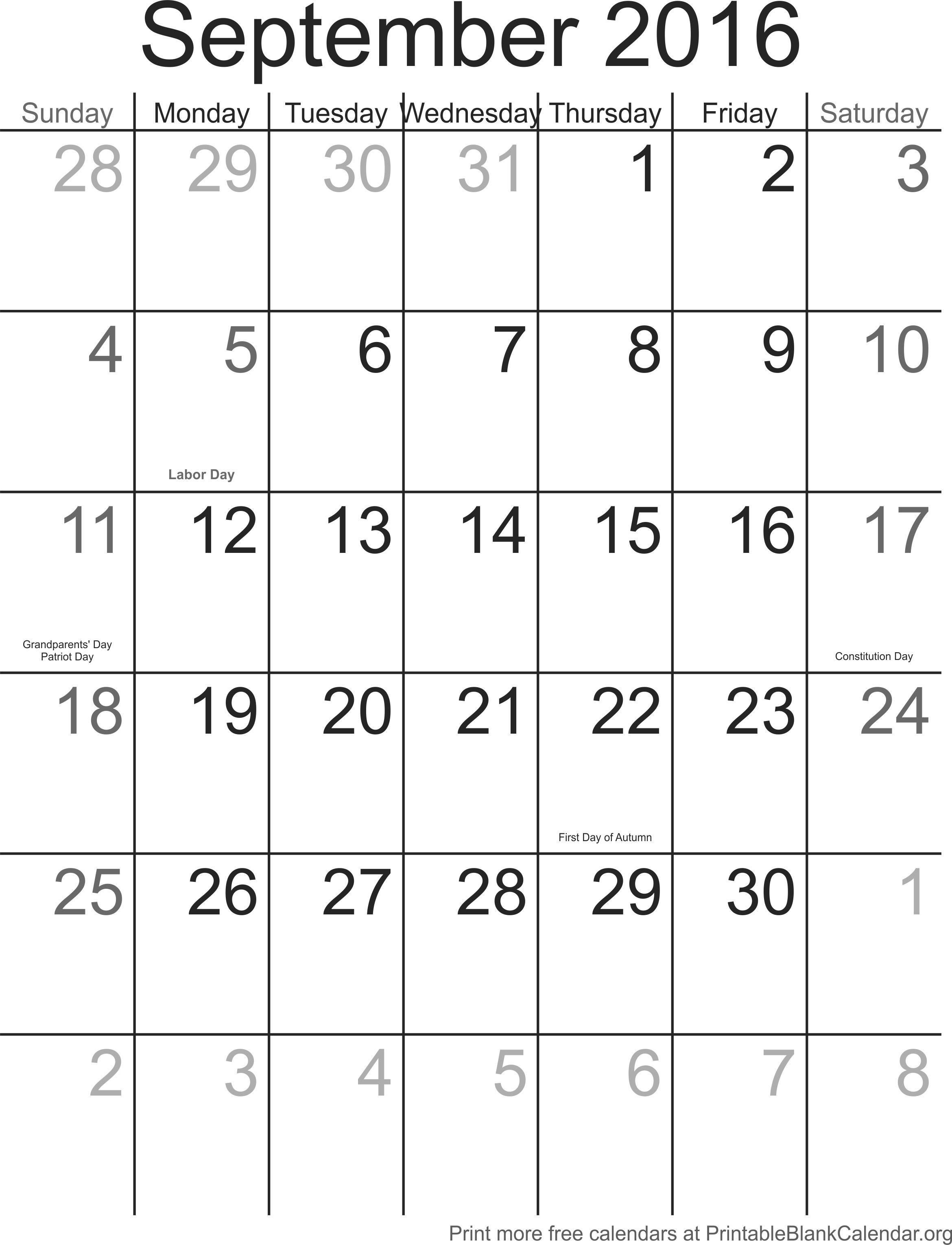 September Calendar 2016 With Holidays : September calendar with holidays printable blank