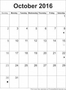 calendar template October 2016