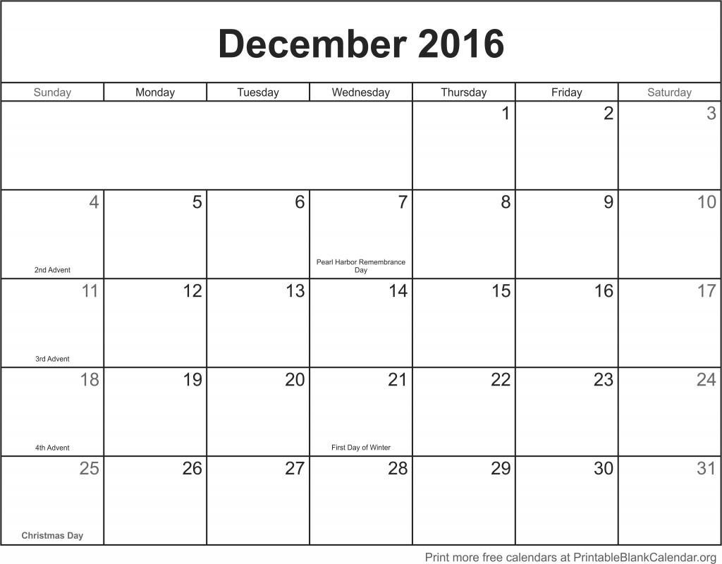free calendar December 2016