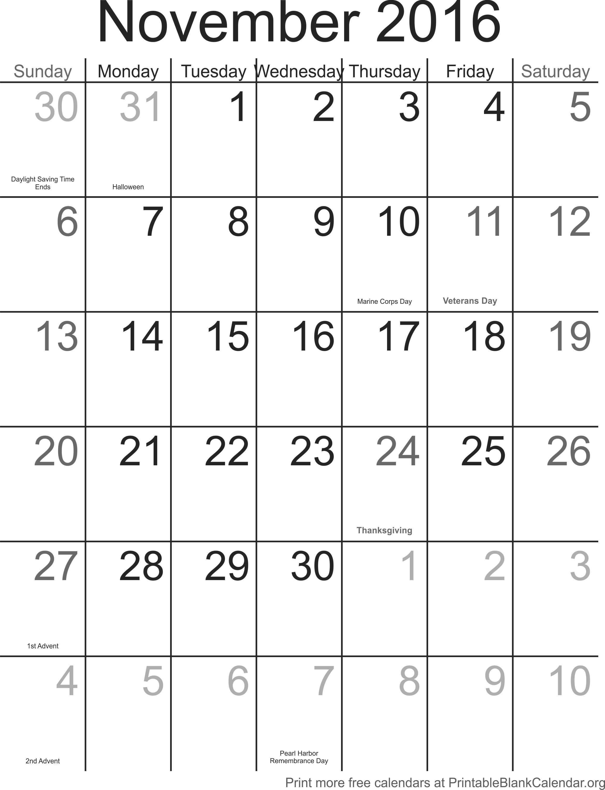 Weekly Calendar November 2016 : November free printable calendar blank