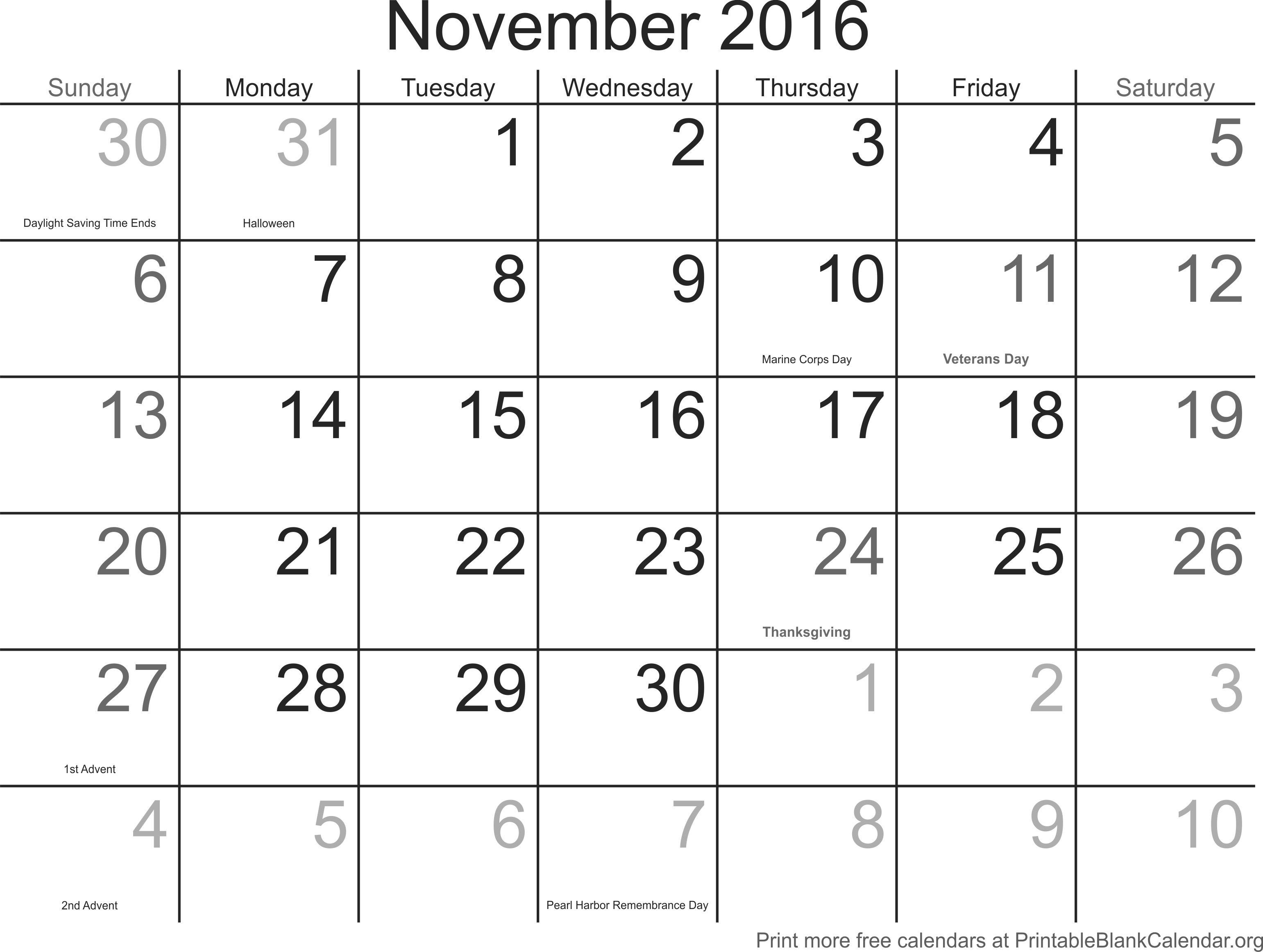 Weekly Calendar November 2016 : November montlhy calendar printable blank