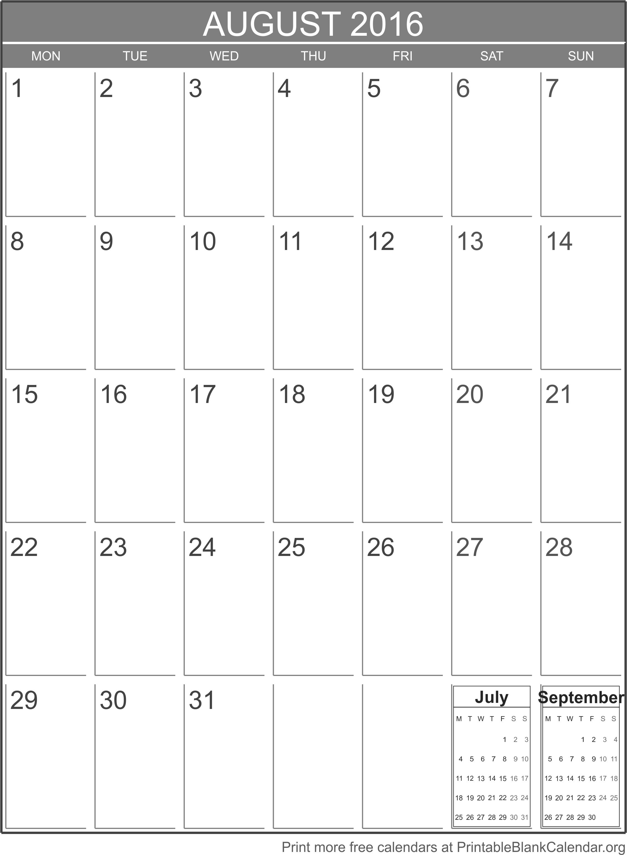printable calendar august 2016 printable blank. Black Bedroom Furniture Sets. Home Design Ideas