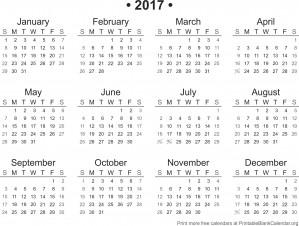 2017 Printable Calendar - Printable Blank Calendar.org