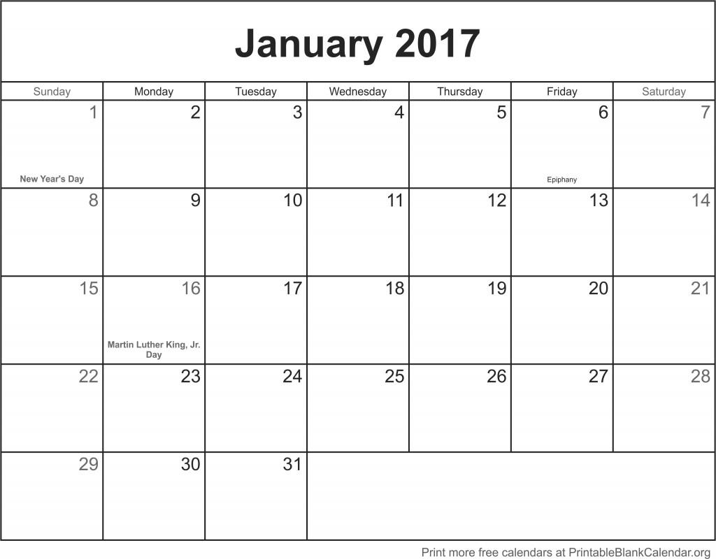 january blank calander